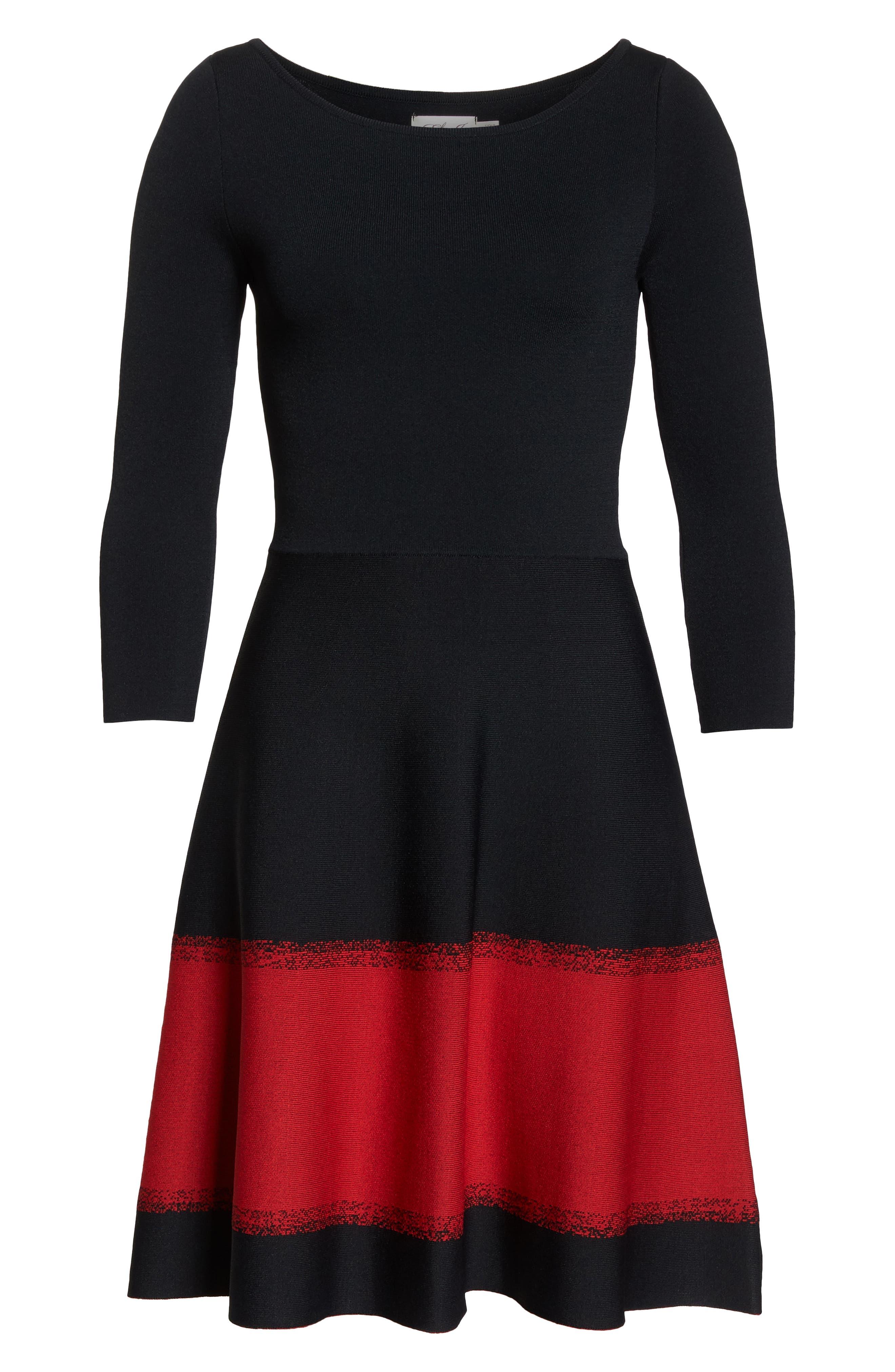 ELIZA J, Contrast Stripe Fit & Flare Dress, Alternate thumbnail 7, color, 001