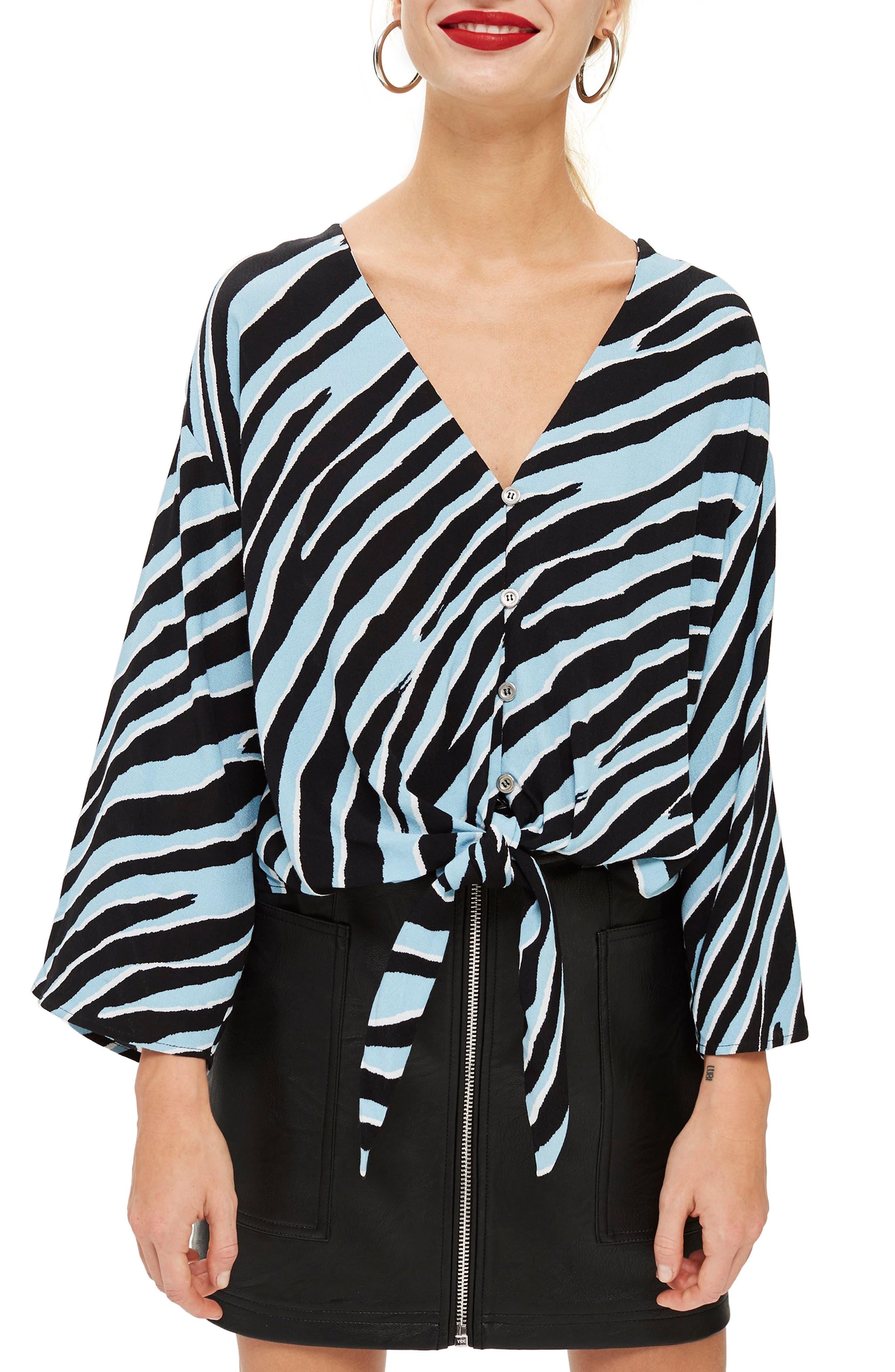 TOPSHOP, Zebra Tie Front Top, Main thumbnail 1, color, 400