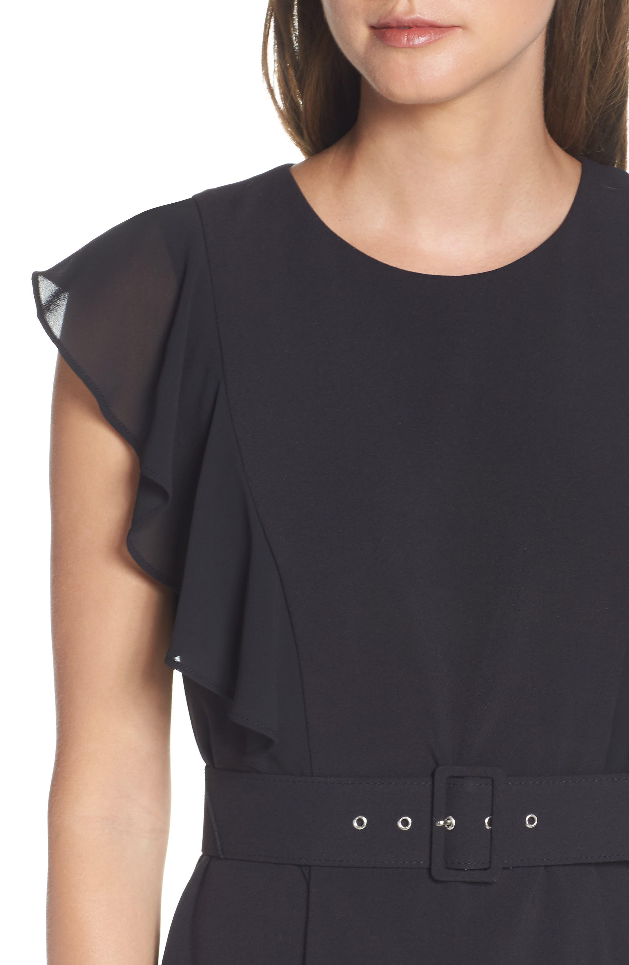 HARPER ROSE, Belted Sheath Dress, Alternate thumbnail 6, color, 001