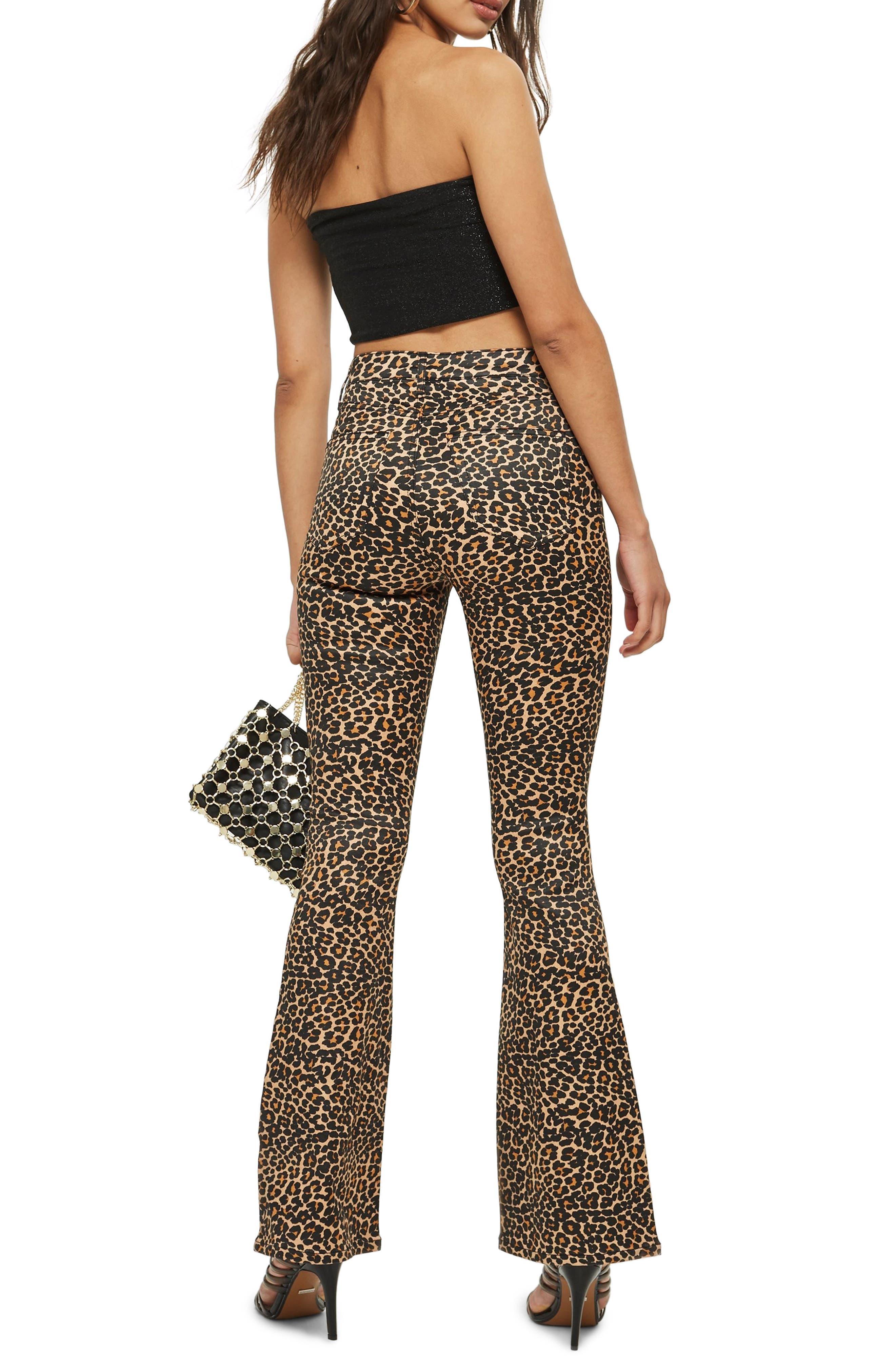 TOPSHOP, MOTO Leopard Print Flare Jeans, Alternate thumbnail 2, color, 200