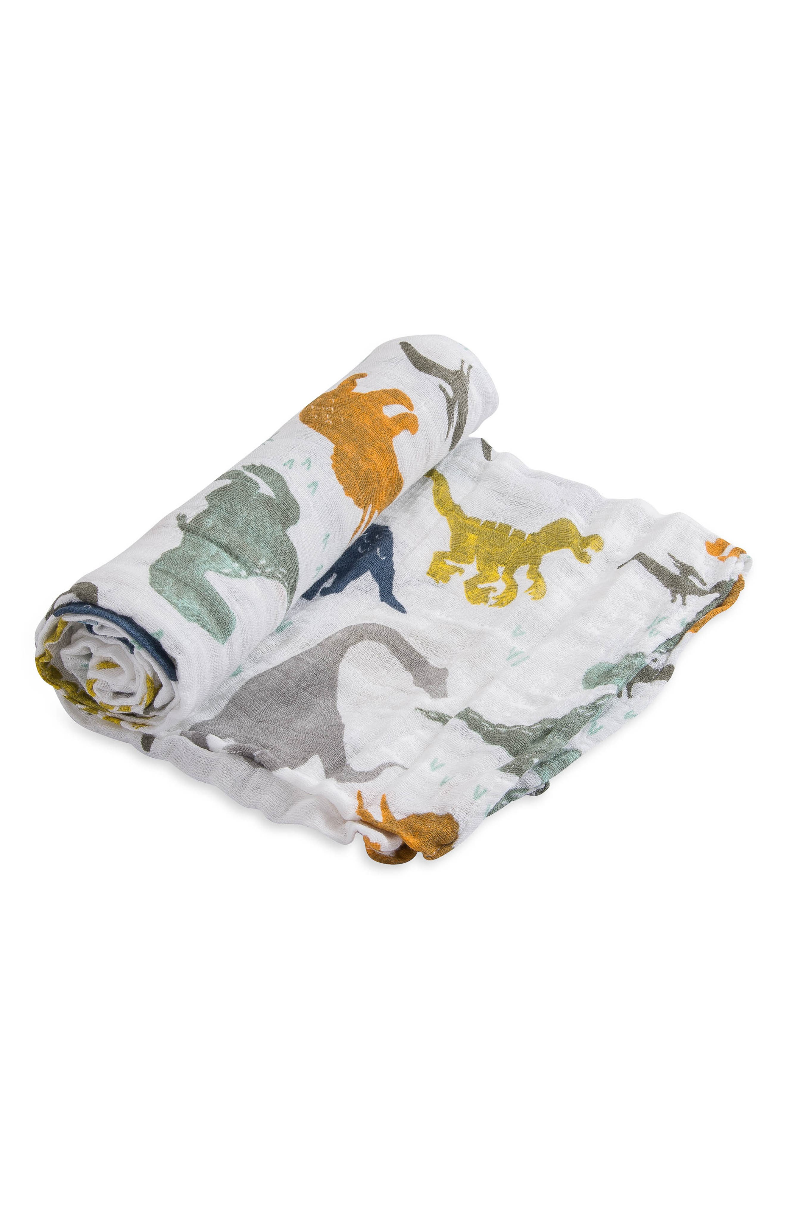LITTLE UNICORN, 3-Pack Cotton Muslin Blankets, Alternate thumbnail 4, color, DINO FRIENDS