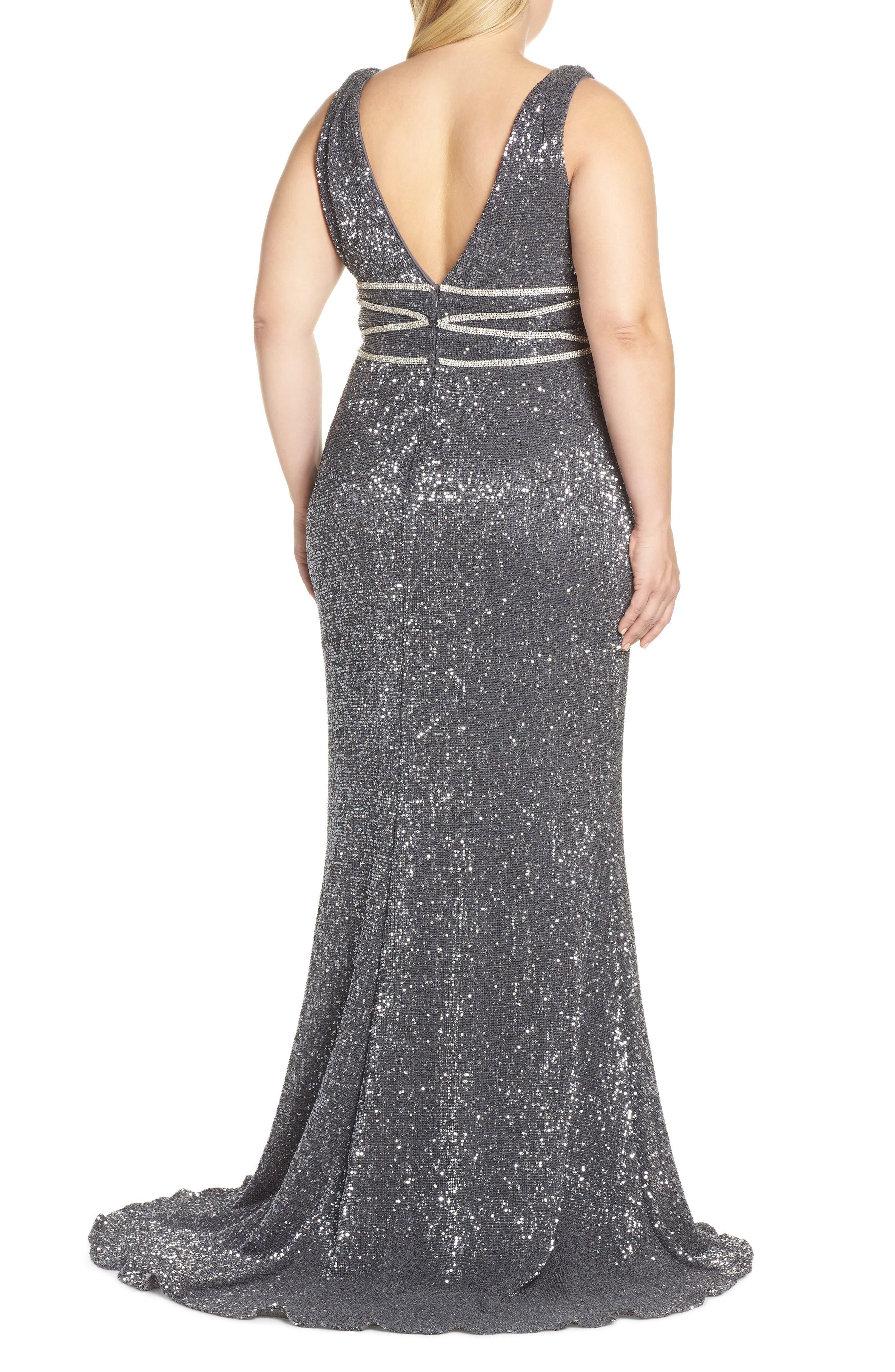 MAC DUGGAL, Beaded Waist Sequin Evening Dress, Alternate thumbnail 2, color, CHARCOAL