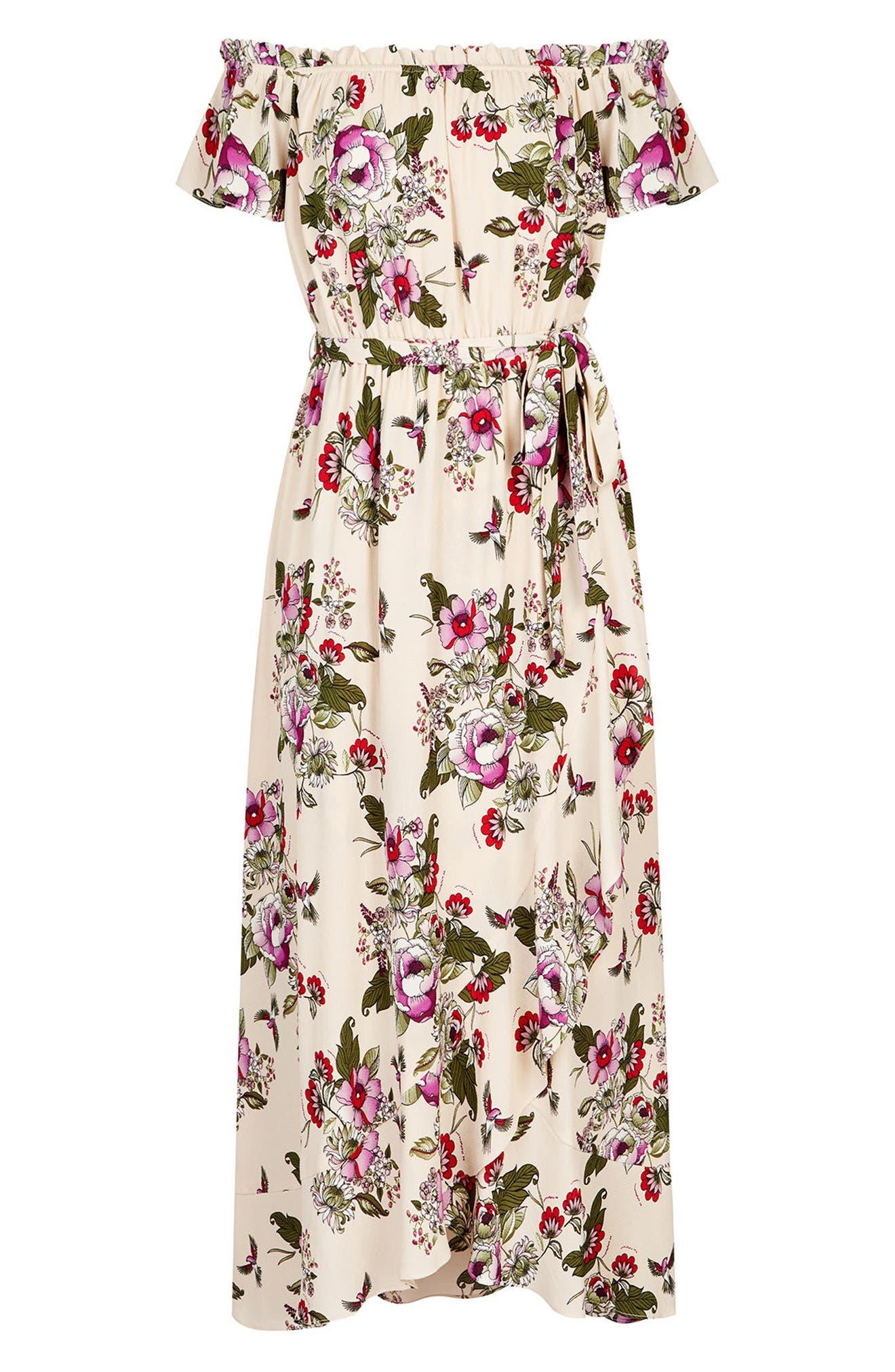 CITY CHIC, Lolita Floral Off the Shoulder Maxi Dress, Alternate thumbnail 3, color, ECRU