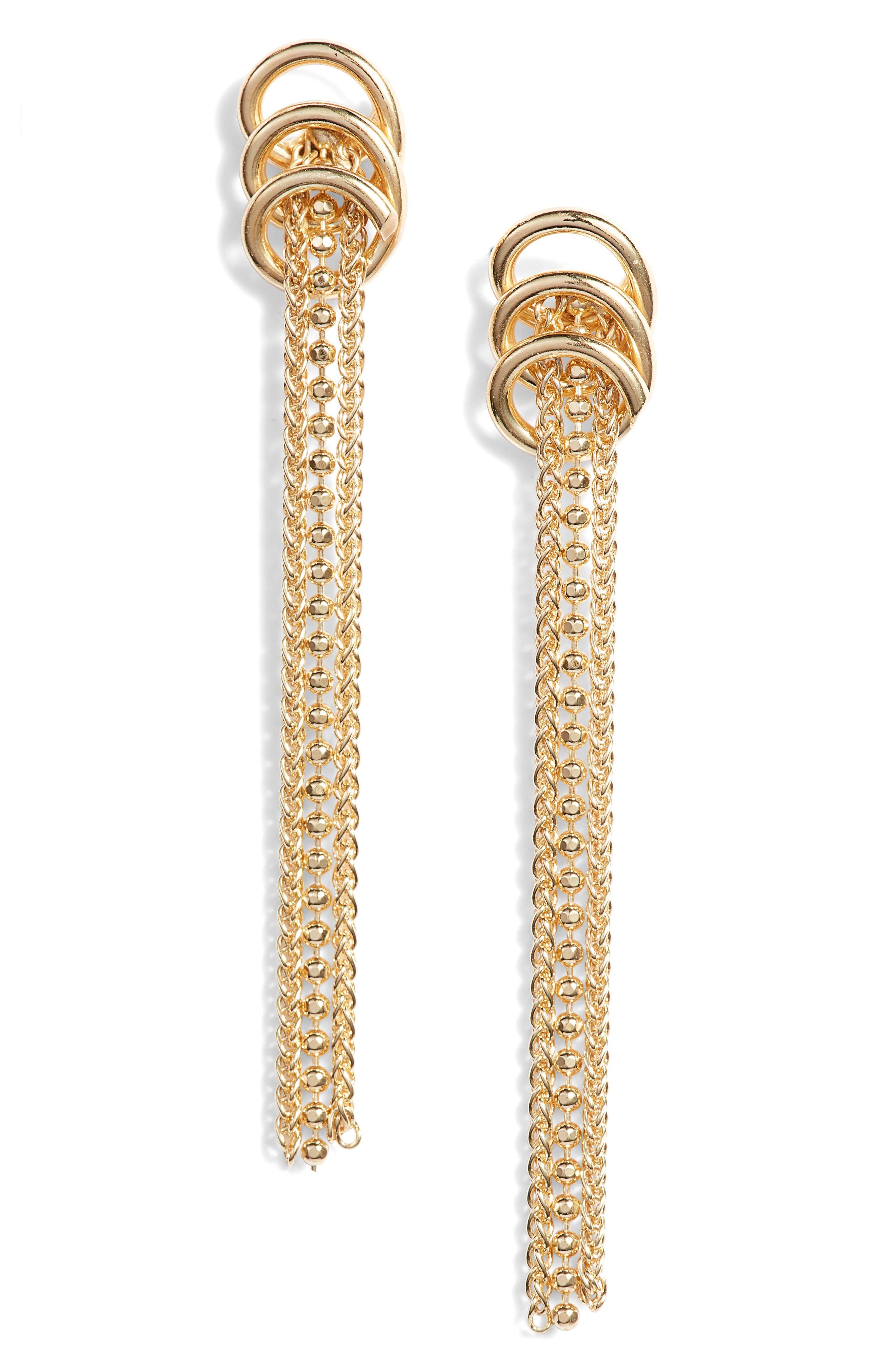 ARGENTO VIVO, Rope Drop Earrings, Main thumbnail 1, color, GOLD
