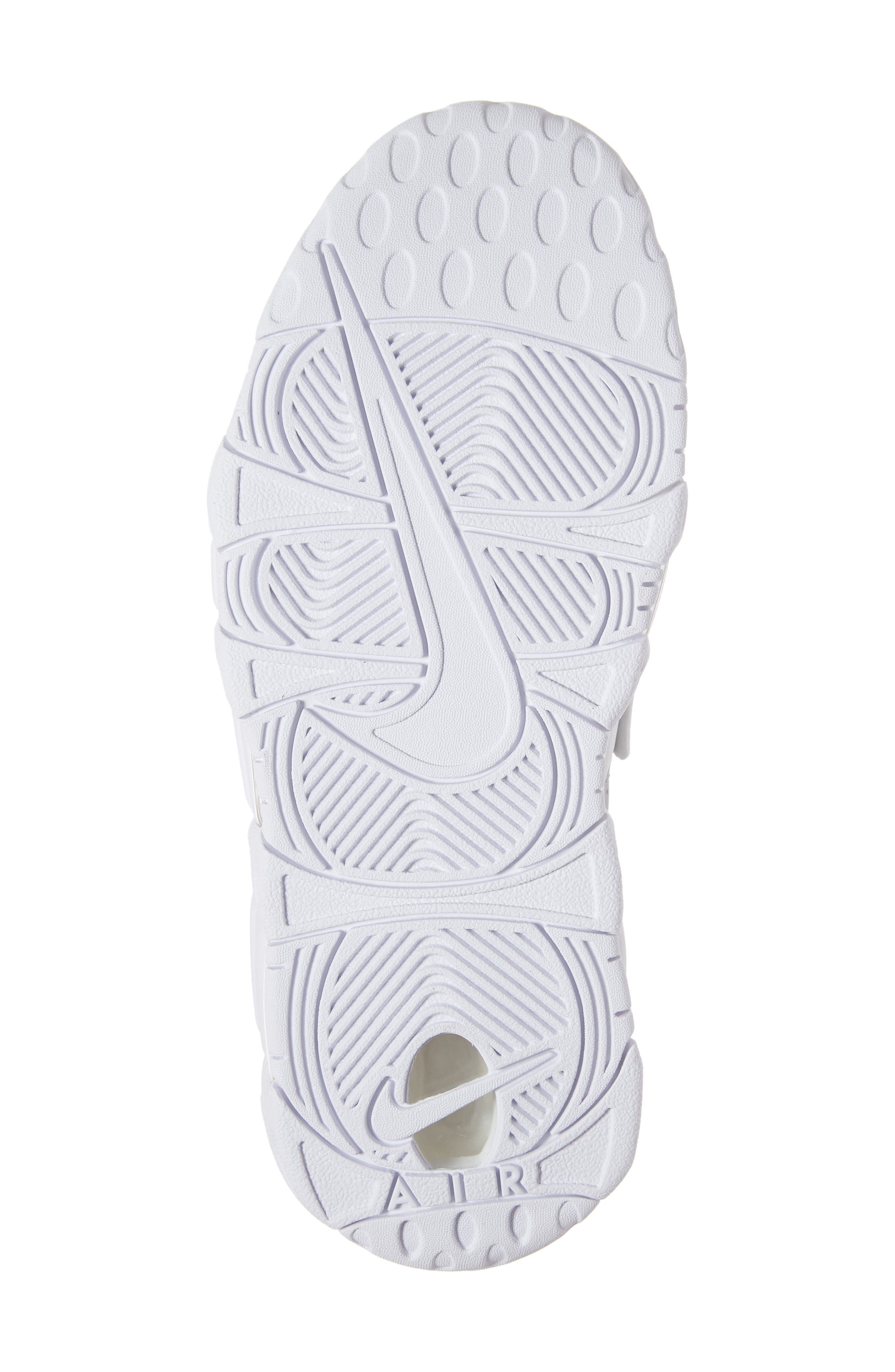 NIKE, Air More Uptempo Sneaker, Alternate thumbnail 6, color, METALLIC SILVER