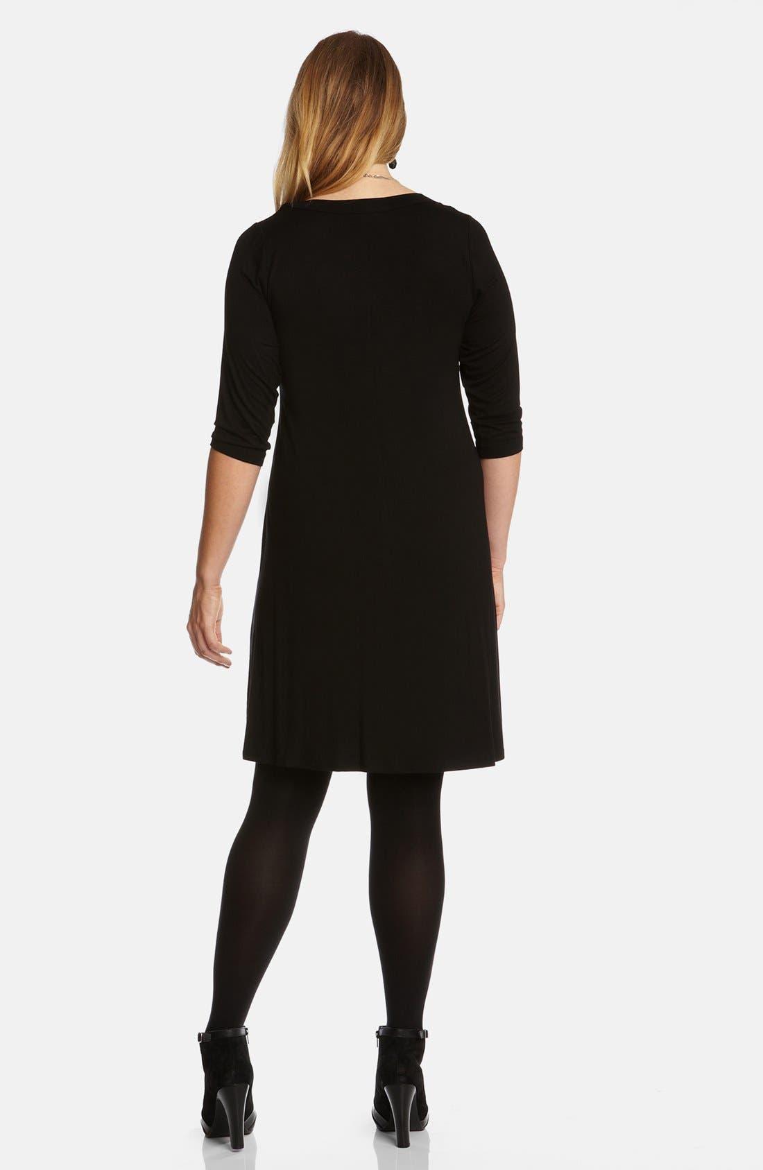 KAREN KANE, Scoop Neck Jersey Dress, Alternate thumbnail 3, color, BLACK