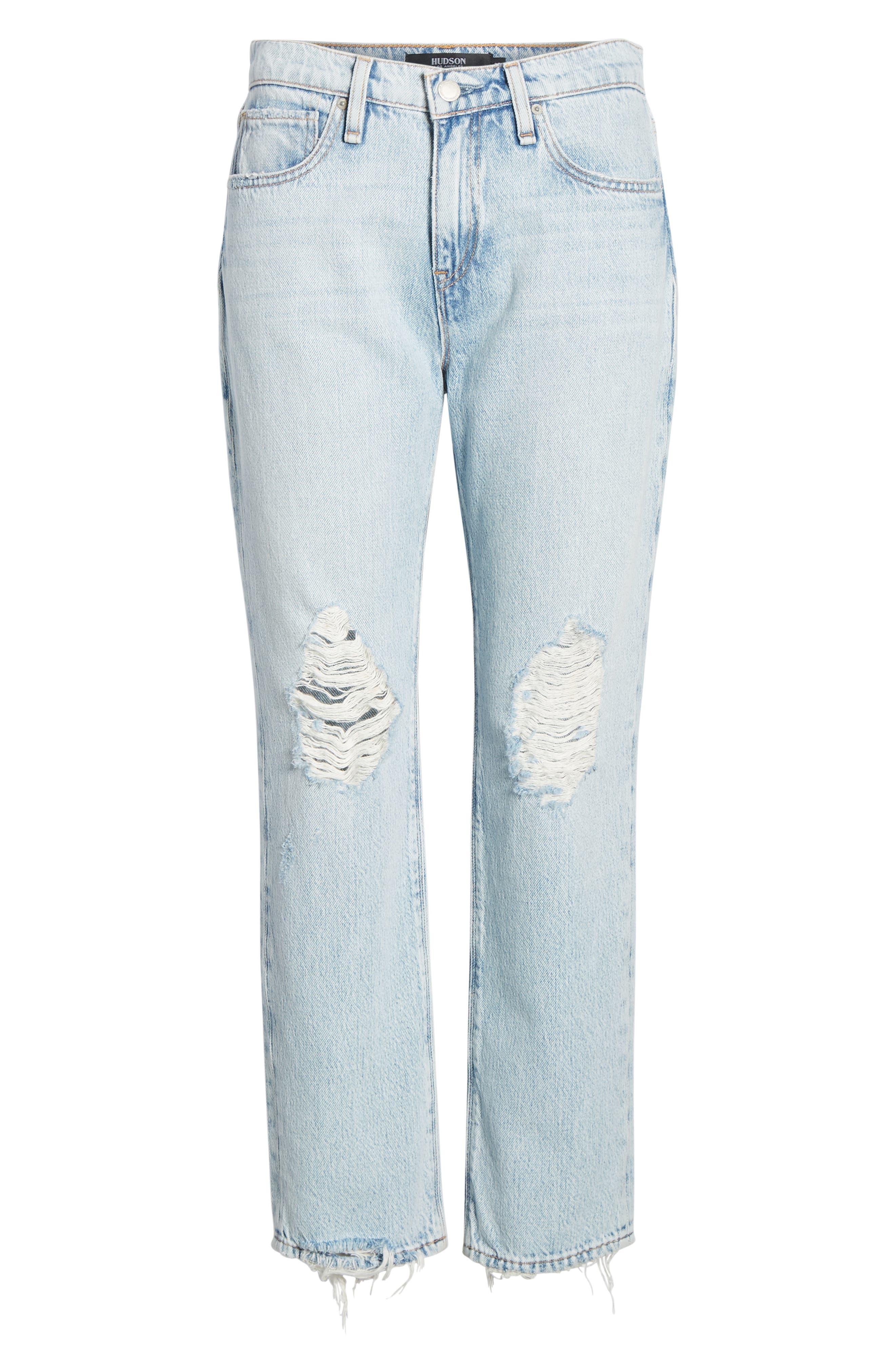 HUDSON JEANS, Jessi Ripped Crop Boyfriend Jeans, Alternate thumbnail 6, color, SAVE TONIGHT