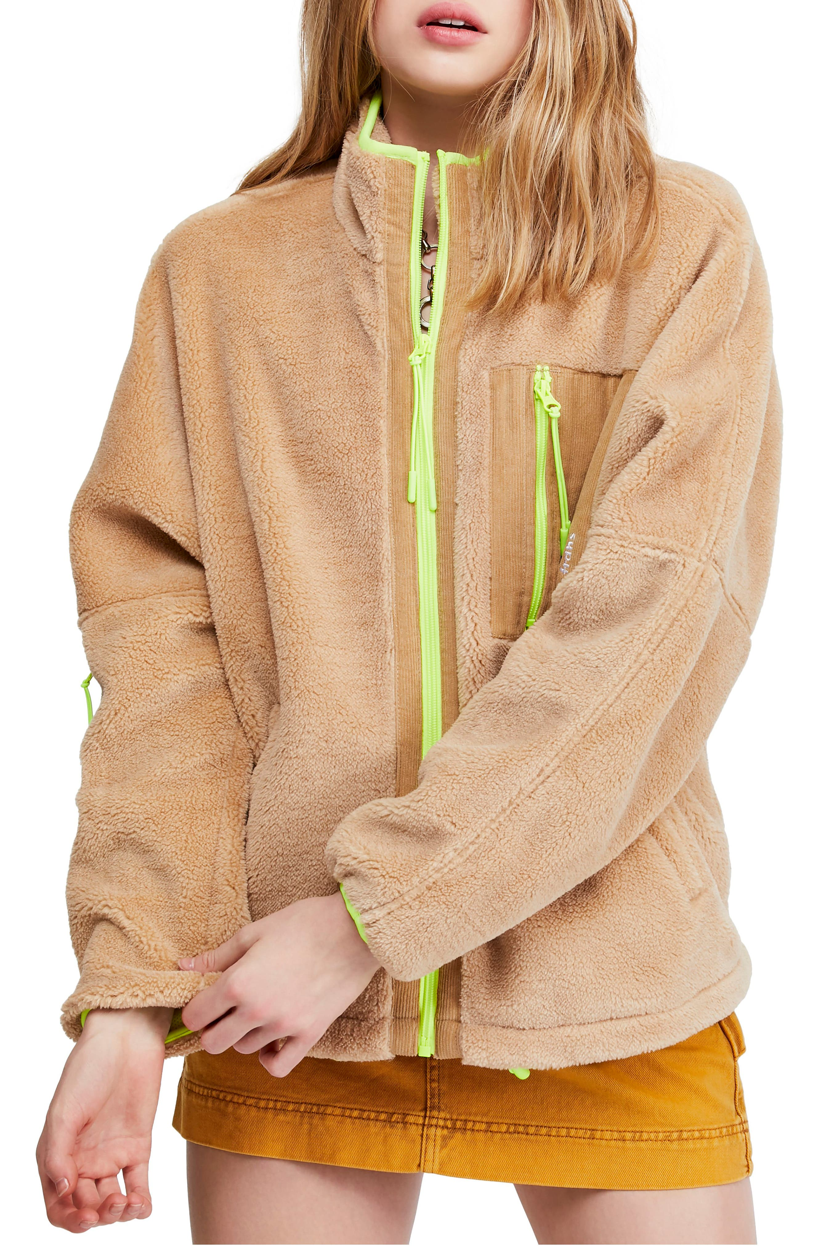 BDG, Urban Outfitters Corduroy Patch Fleece Jacket, Main thumbnail 1, color, SAND