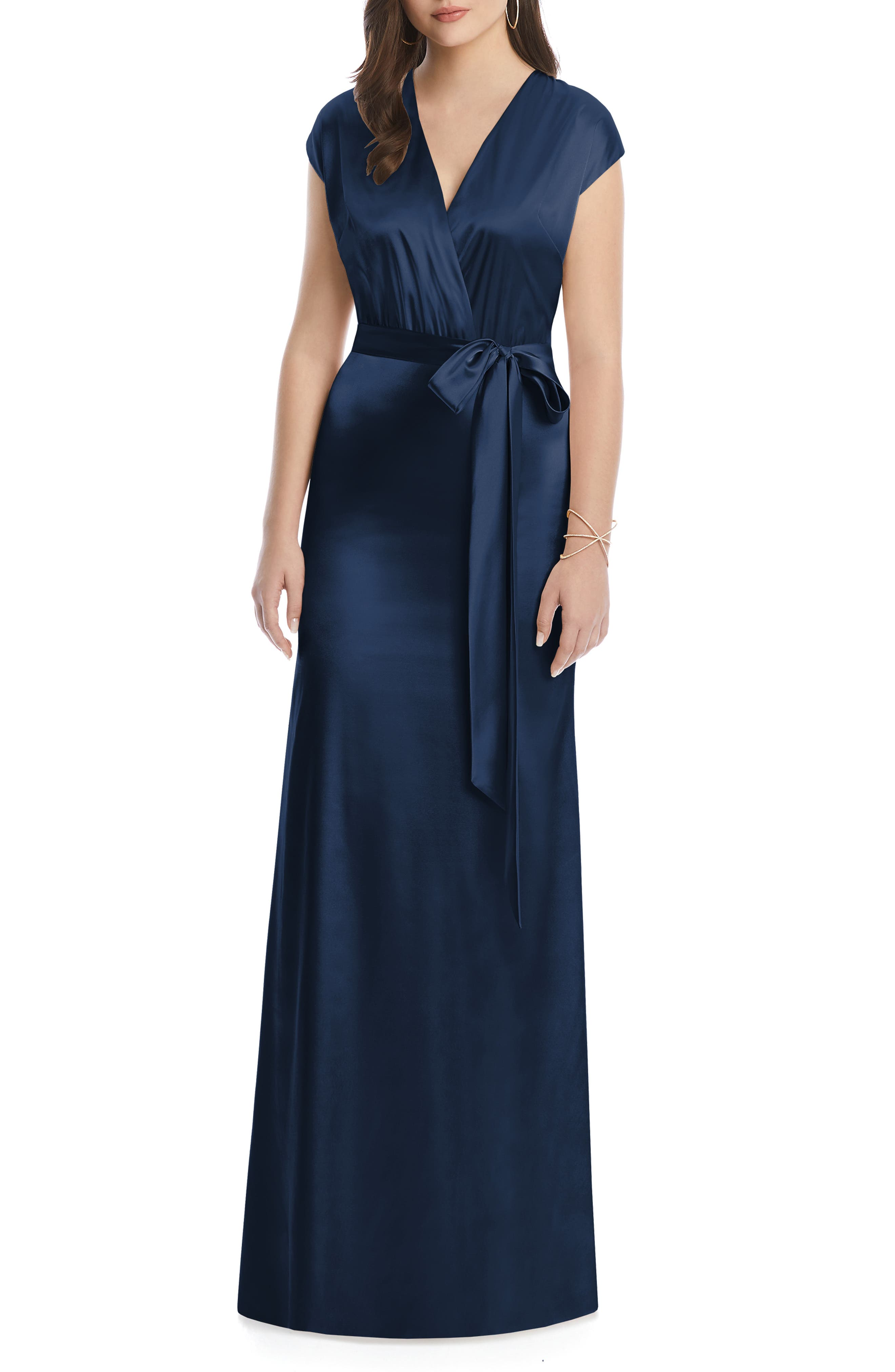 DESSY COLLECTION, V-Neck Stretch Chameuse Gown, Alternate thumbnail 3, color, MIDNIGHT