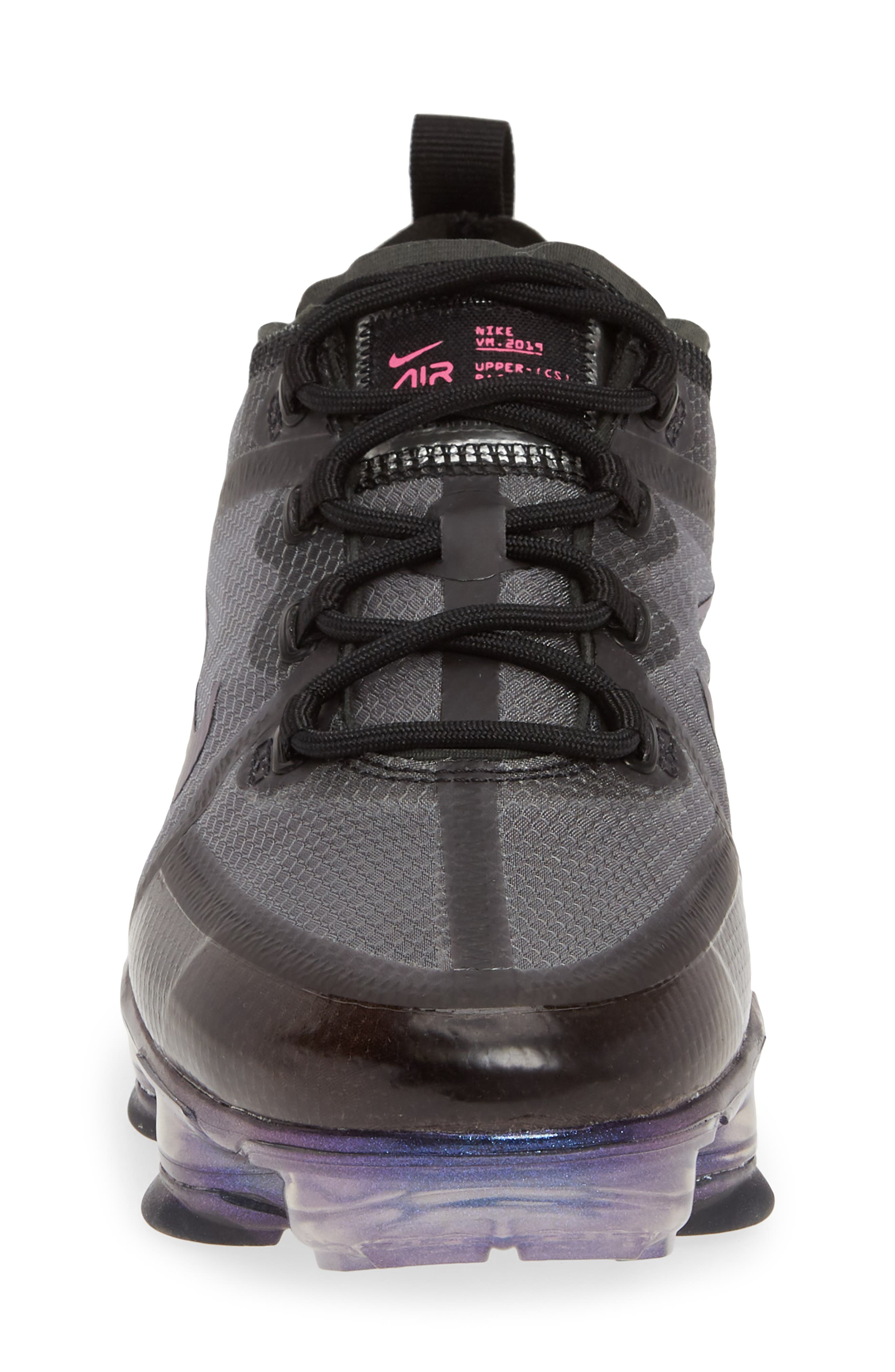 NIKE, Air VaporMax 2019 Running Shoe, Alternate thumbnail 4, color, BLACK/ FUCHSIA-ANTHRACITE
