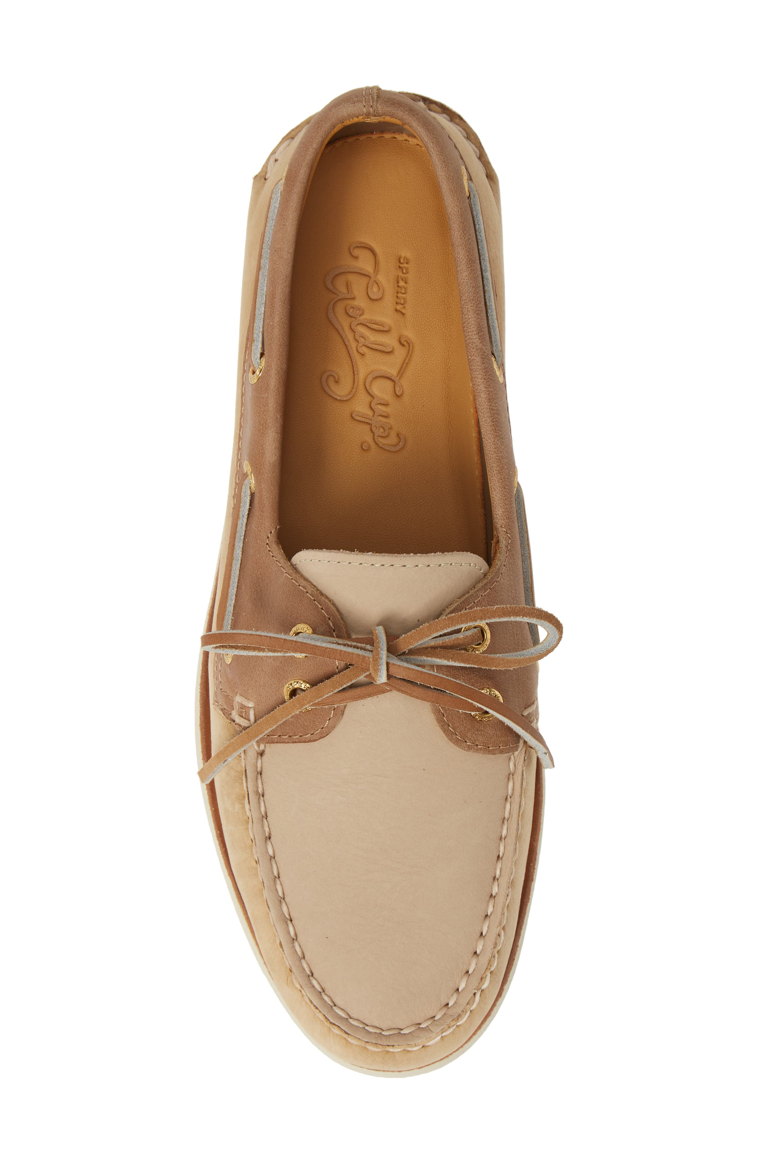 SPERRY, Gold Cup Authentic Original Boat Shoe, Alternate thumbnail 5, color, TAN/ BROWN/ CREAM LEATHER