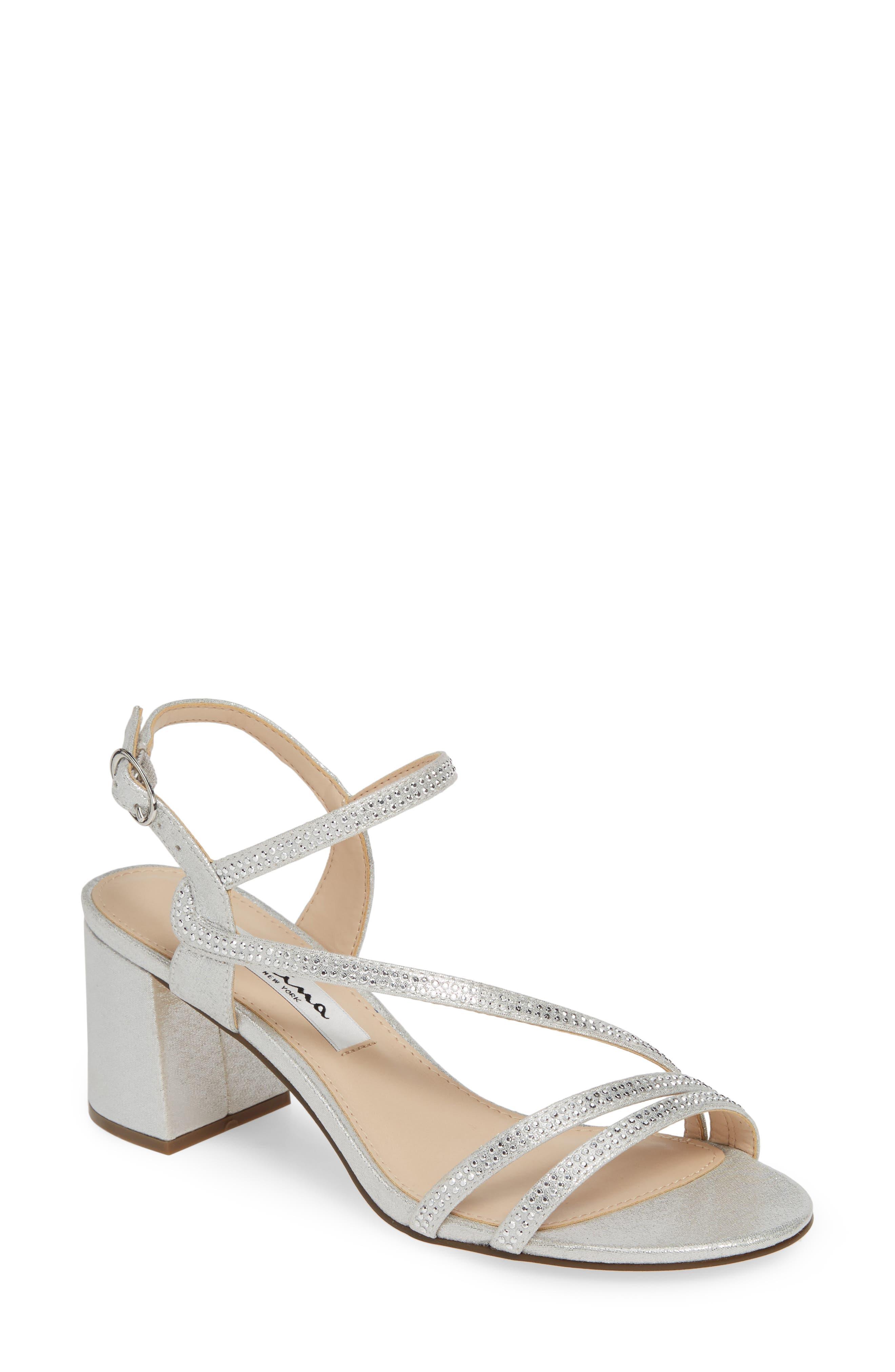 Nina Naura Block Heel Sandal, Metallic