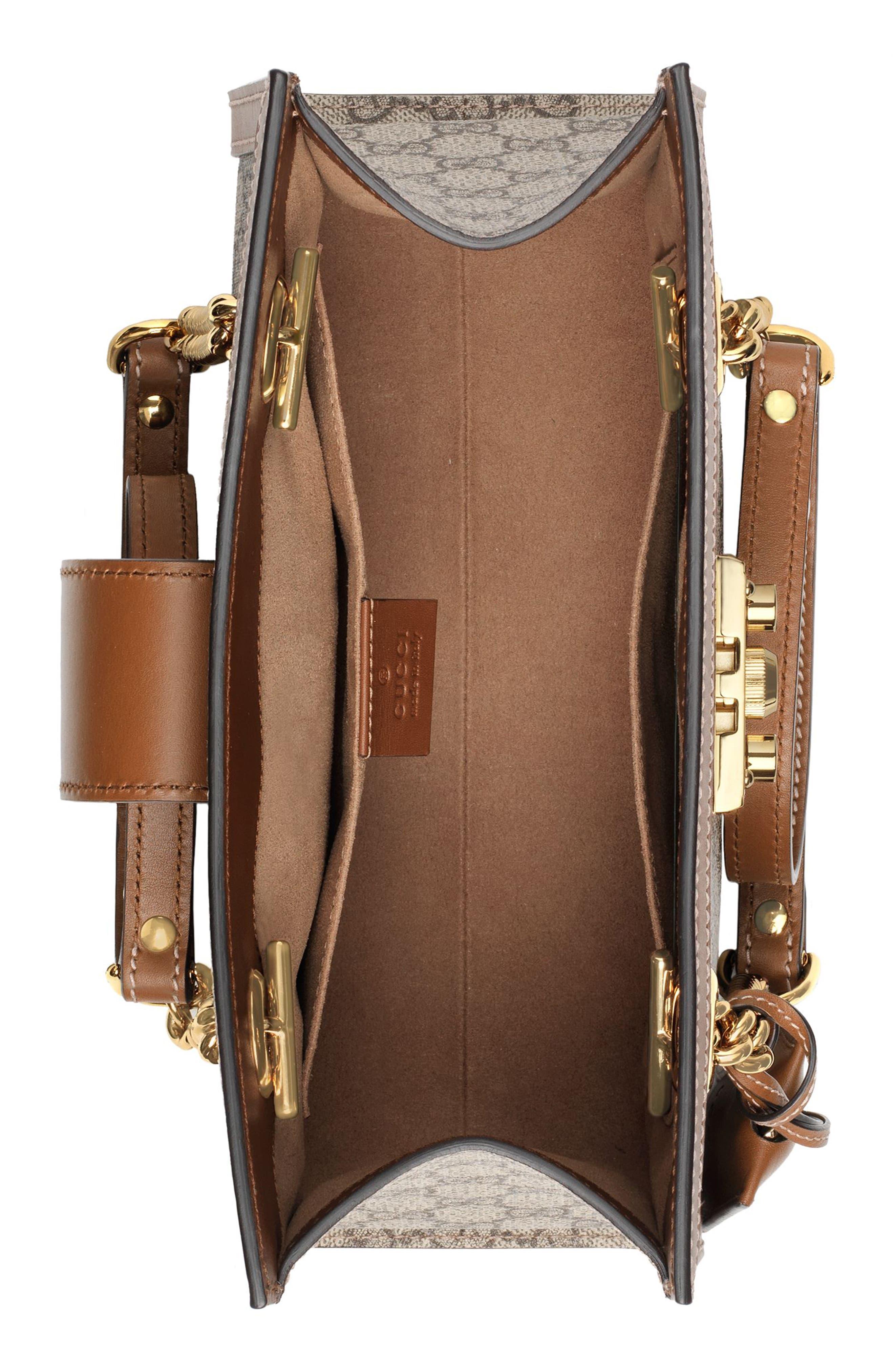 GUCCI, Small Padlock GG Supreme Shoulder Bag, Alternate thumbnail 3, color, BEIGE EBONY/ TUSCANY