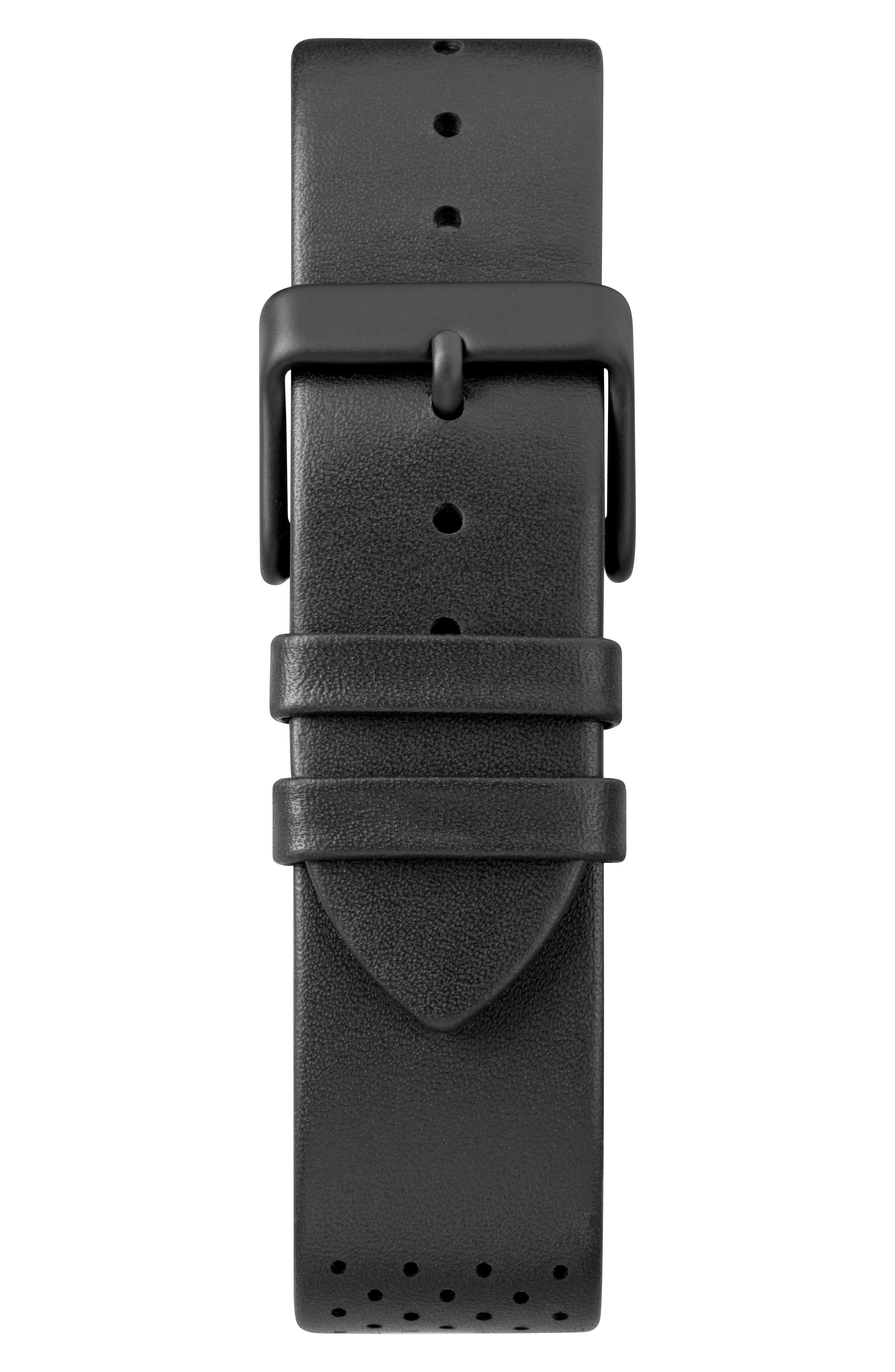 TIMEX<SUP>®</SUP>, Fairfield Chronograph Leather Strap Watch, 41mm, Alternate thumbnail 2, color, BLACK