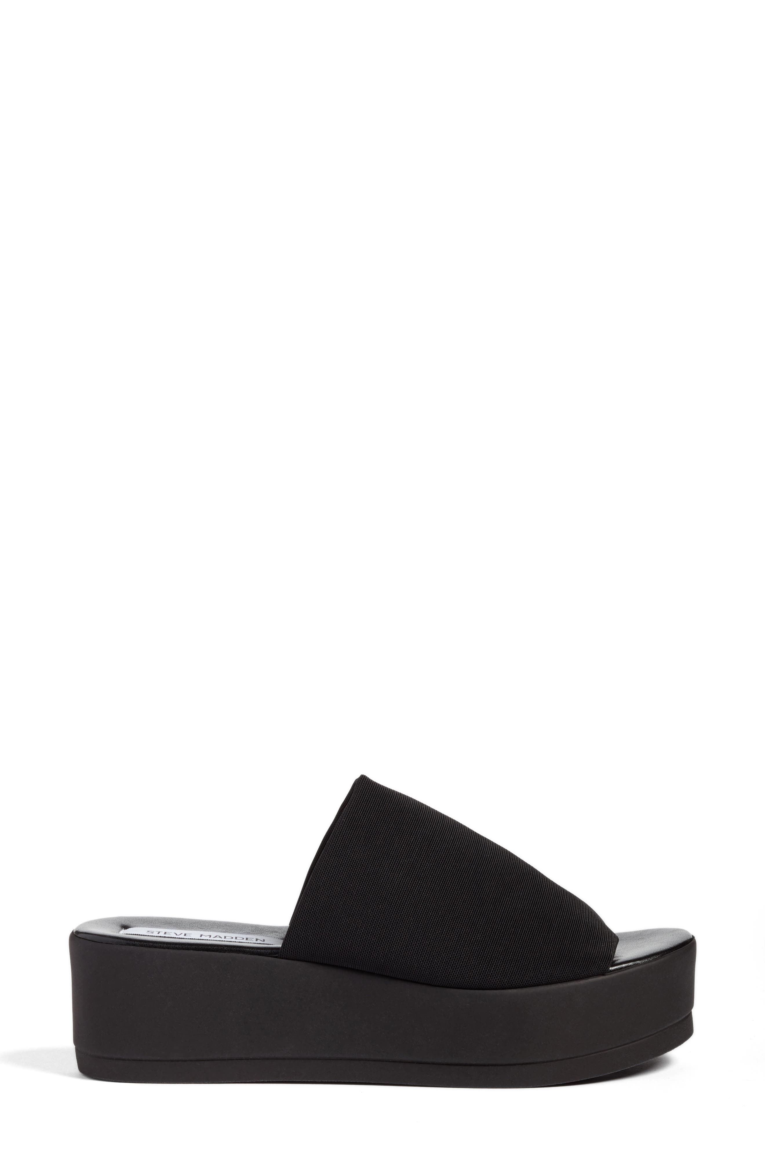STEVE MADDEN, Slinky Platform Sandal, Alternate thumbnail 3, color, 001