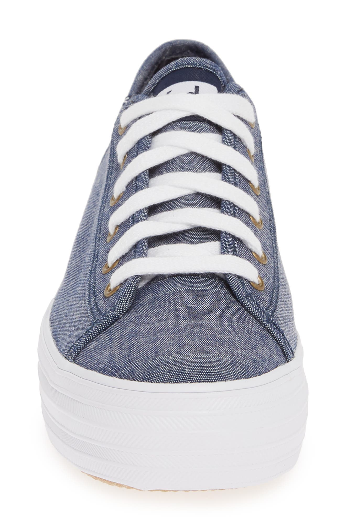KEDS<SUP>®</SUP>, Triple Kick Platform Chambray Sneaker, Alternate thumbnail 4, color, BLUE