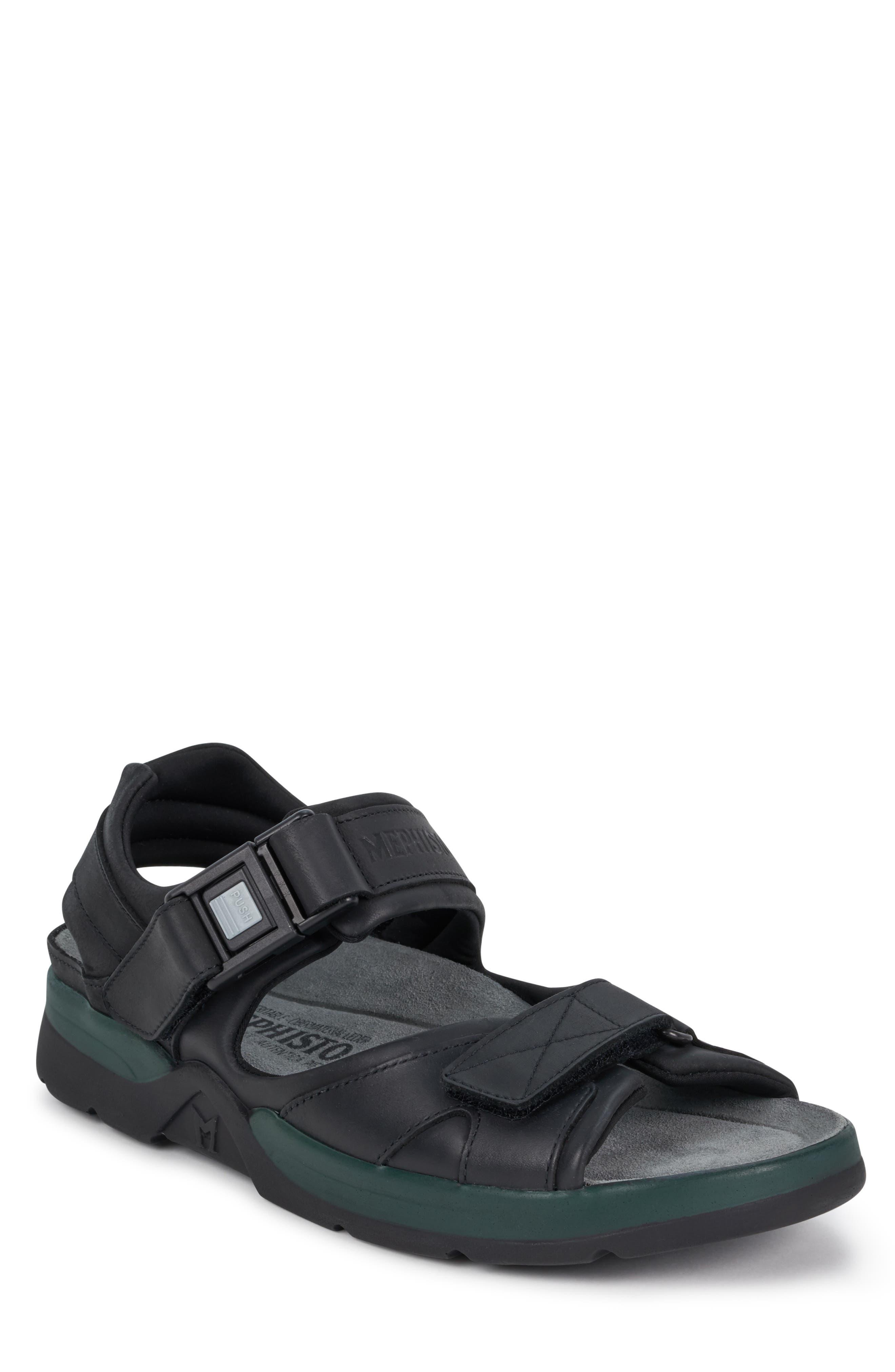 MEPHISTO 'Shark' Sandal, Main, color, BLACK WAXED LEATHER