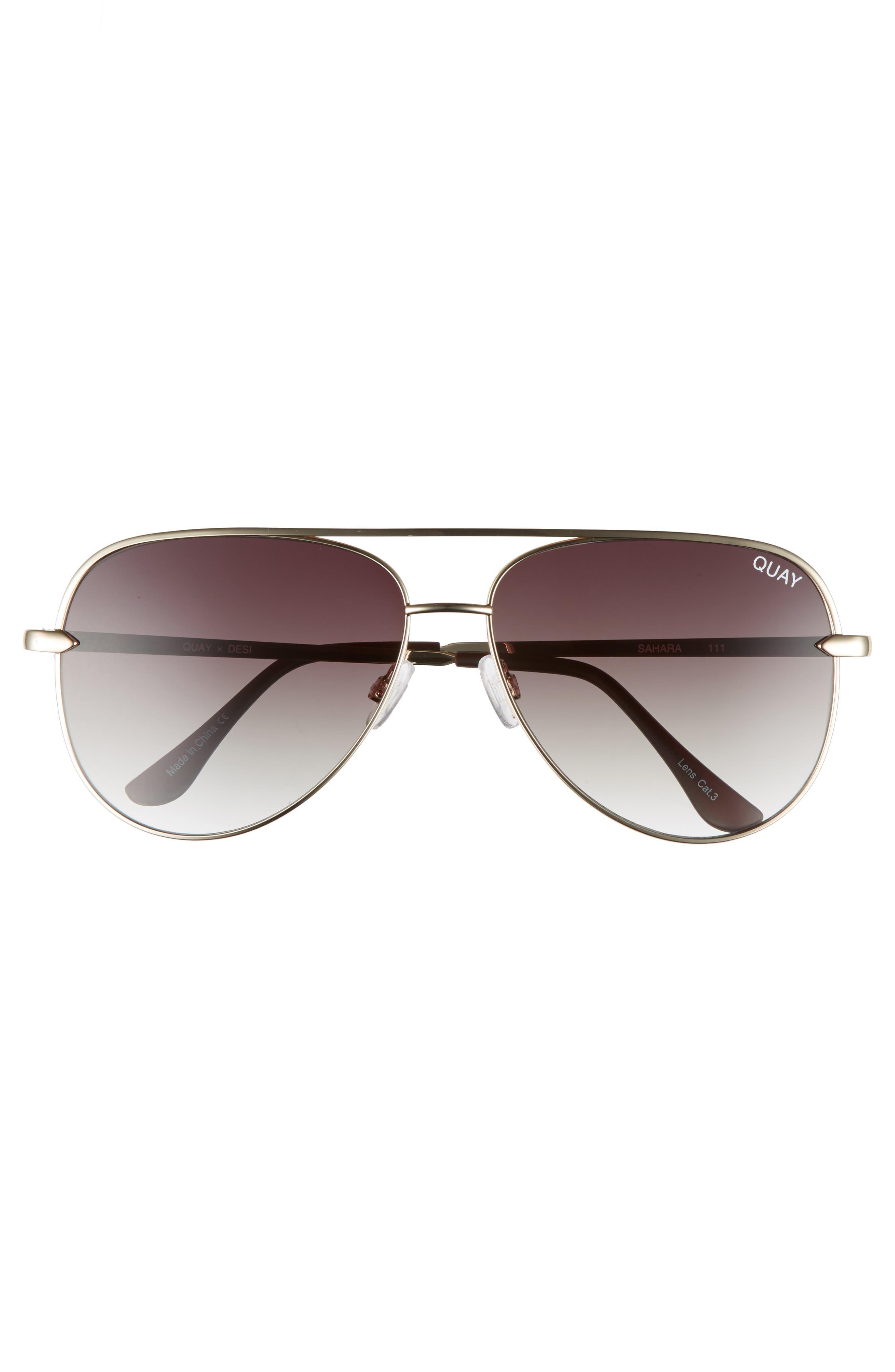 QUAY AUSTRALIA, x Desi Perkins Sahara 60mm Aviator Sunglasses, Alternate thumbnail 3, color, GOLD/ SMOKE