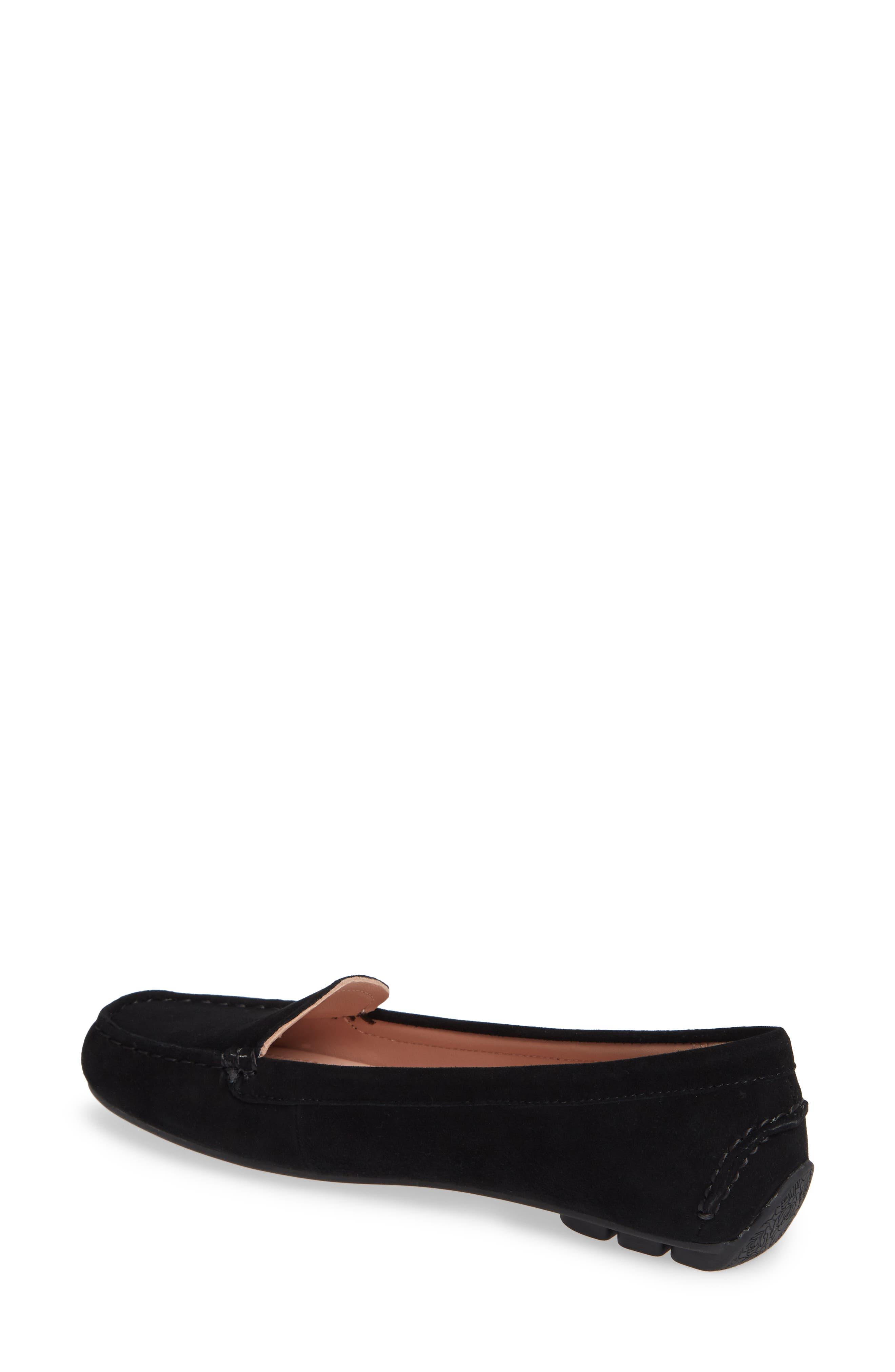 TARYN ROSE, Karen Water Resistant Driving Loafer, Alternate thumbnail 2, color, BLACK SUEDE