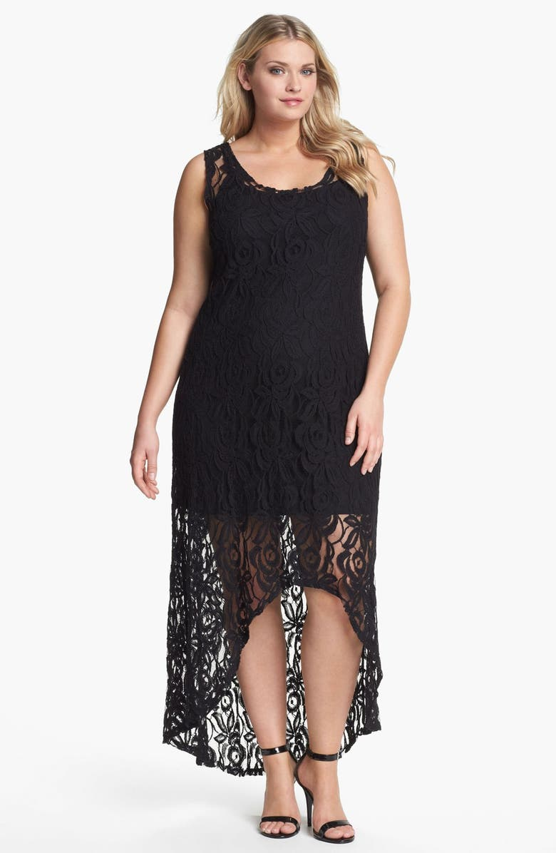 Loveappella Lace High/Low Maxi Dress (Plus Size) | Nordstrom