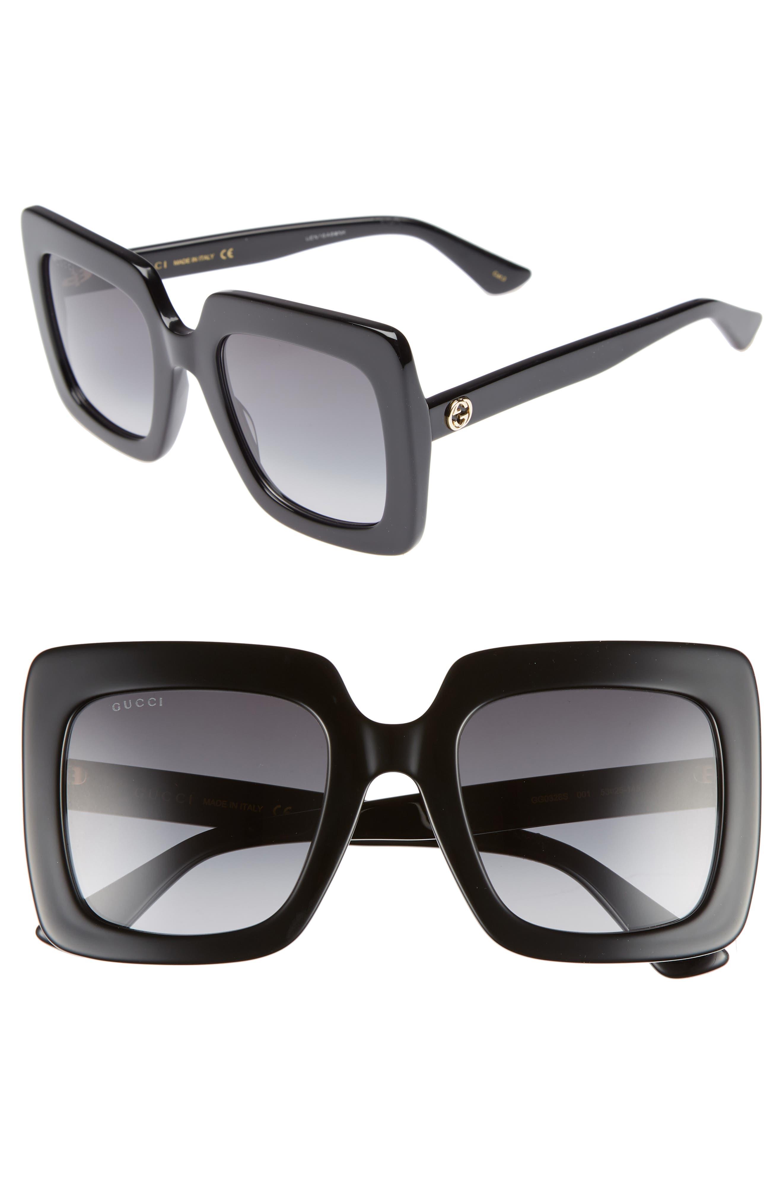 GUCCI 53mm Square Sunglasses, Main, color, BLACK