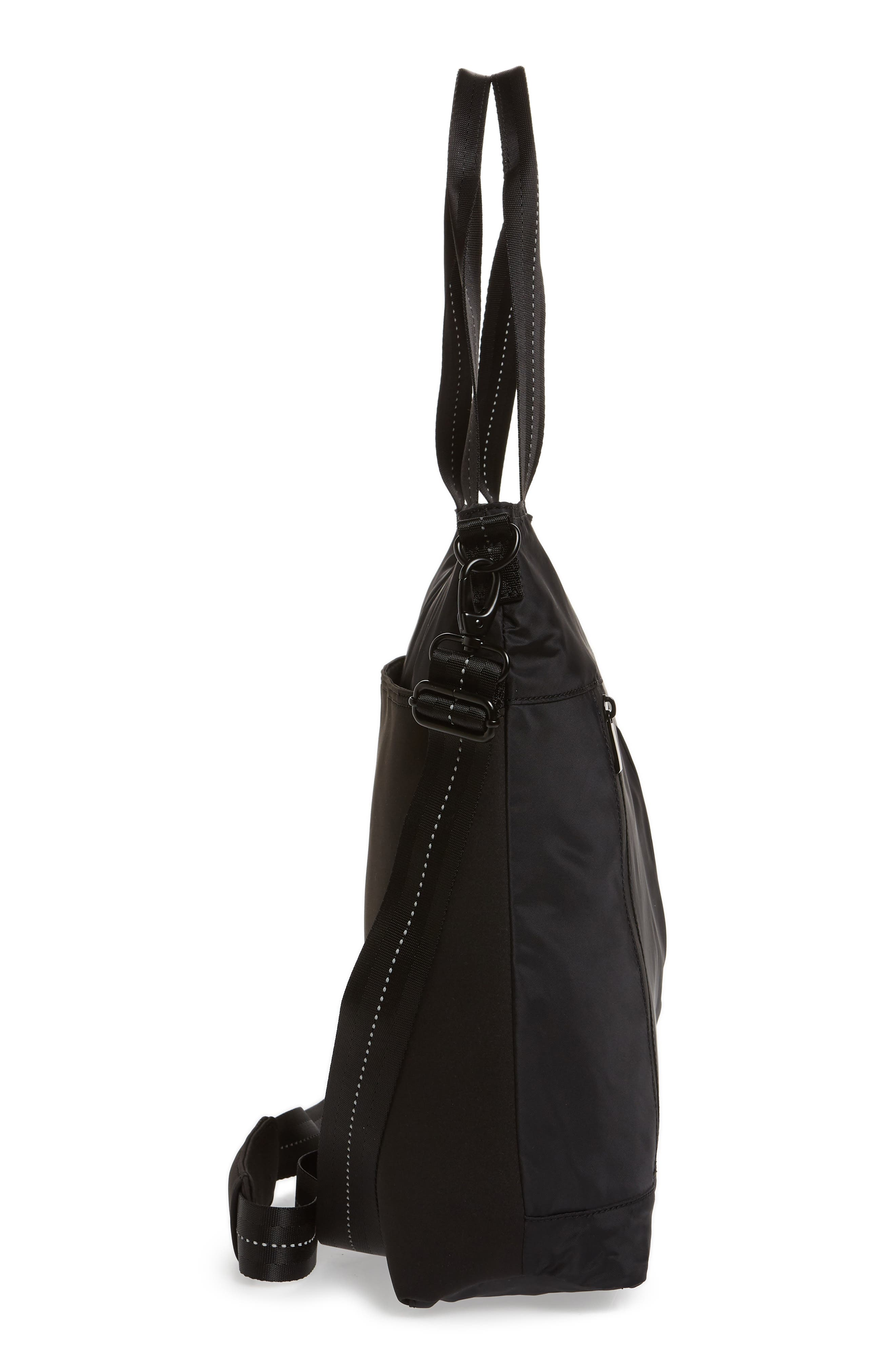 ZELLA, Reflective Nylon Tote Bag, Alternate thumbnail 6, color, BLACK