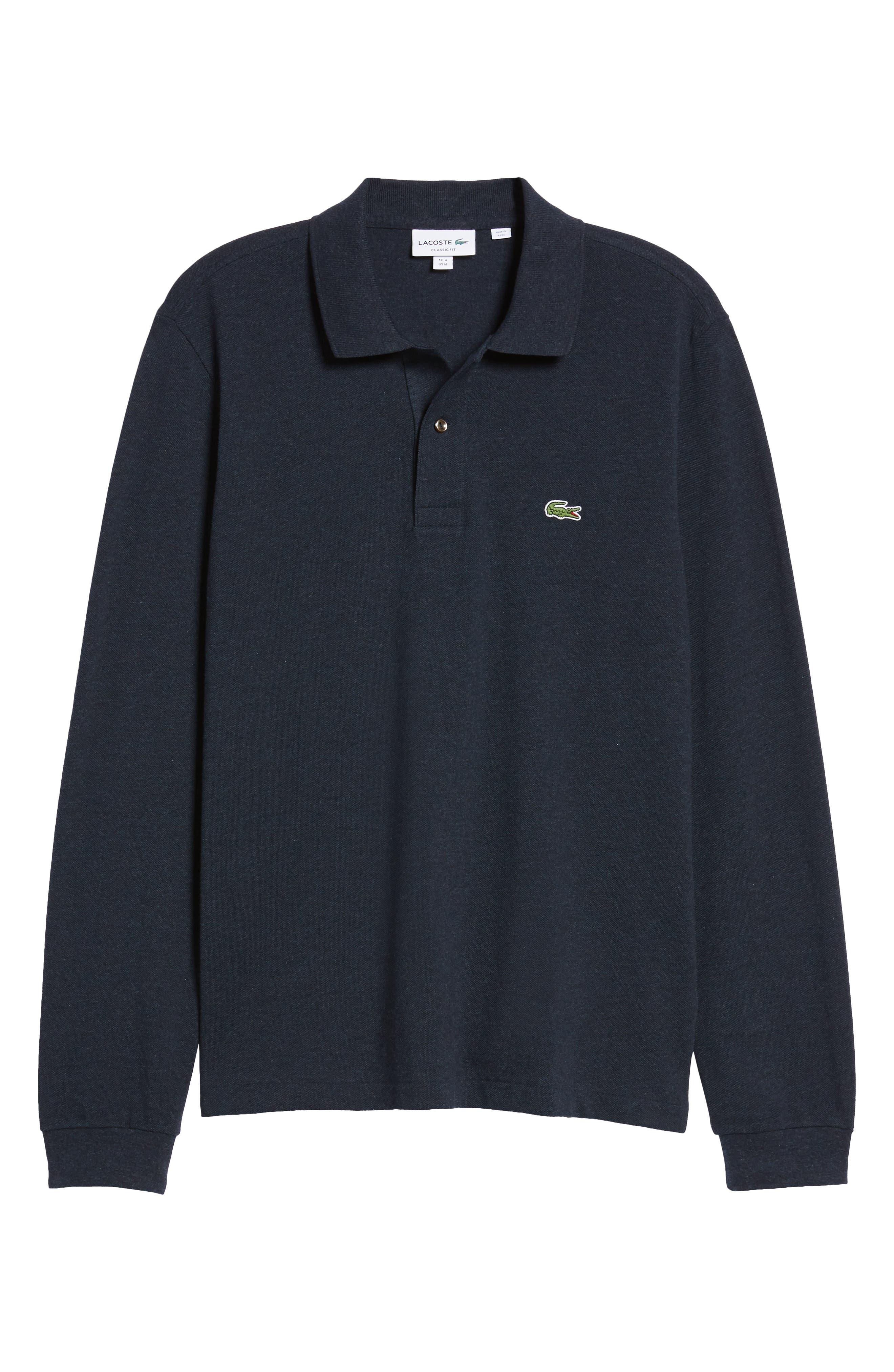 LACOSTE, Long Sleeve Piqué Polo, Alternate thumbnail 6, color, ECLIPSE BLUE CHINE