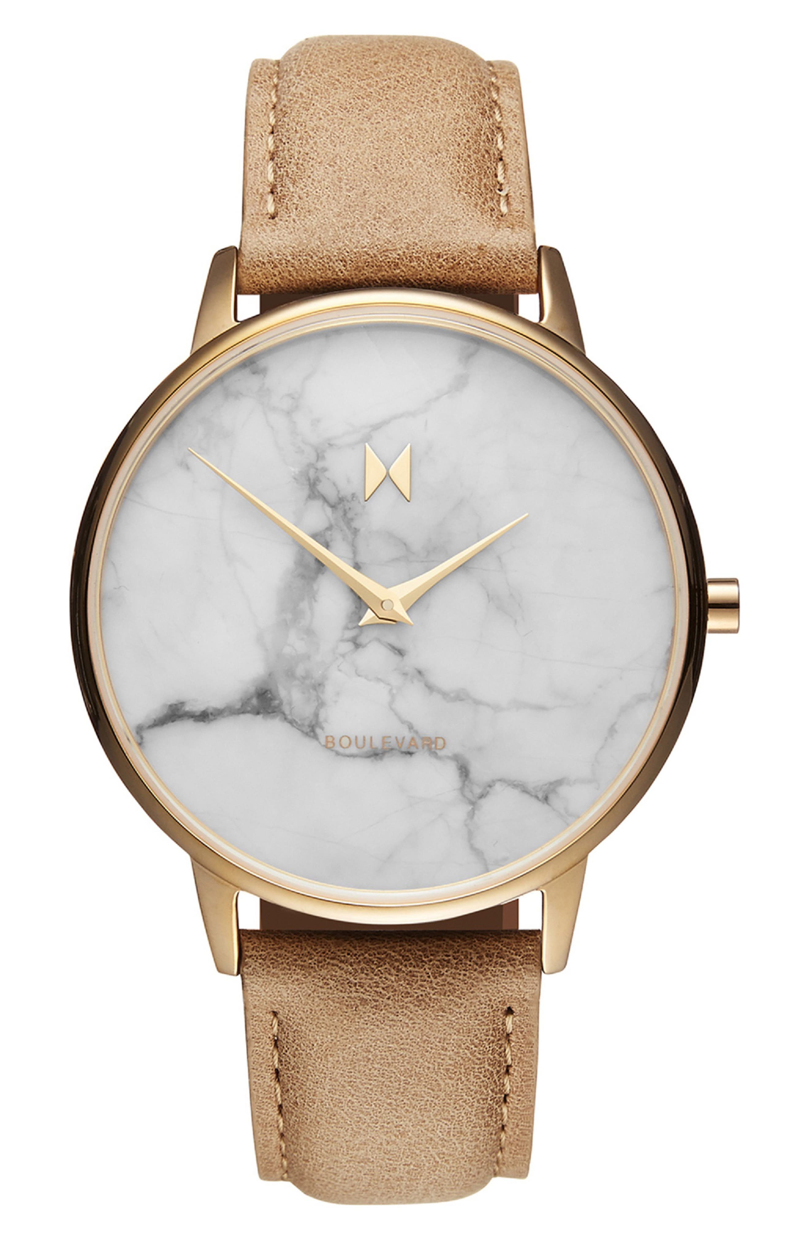 MVMT, Boulevard Leather Strap Watch, 38mm, Main thumbnail 1, color, CARAMEL/ WHITE MARBLE/ GOLD