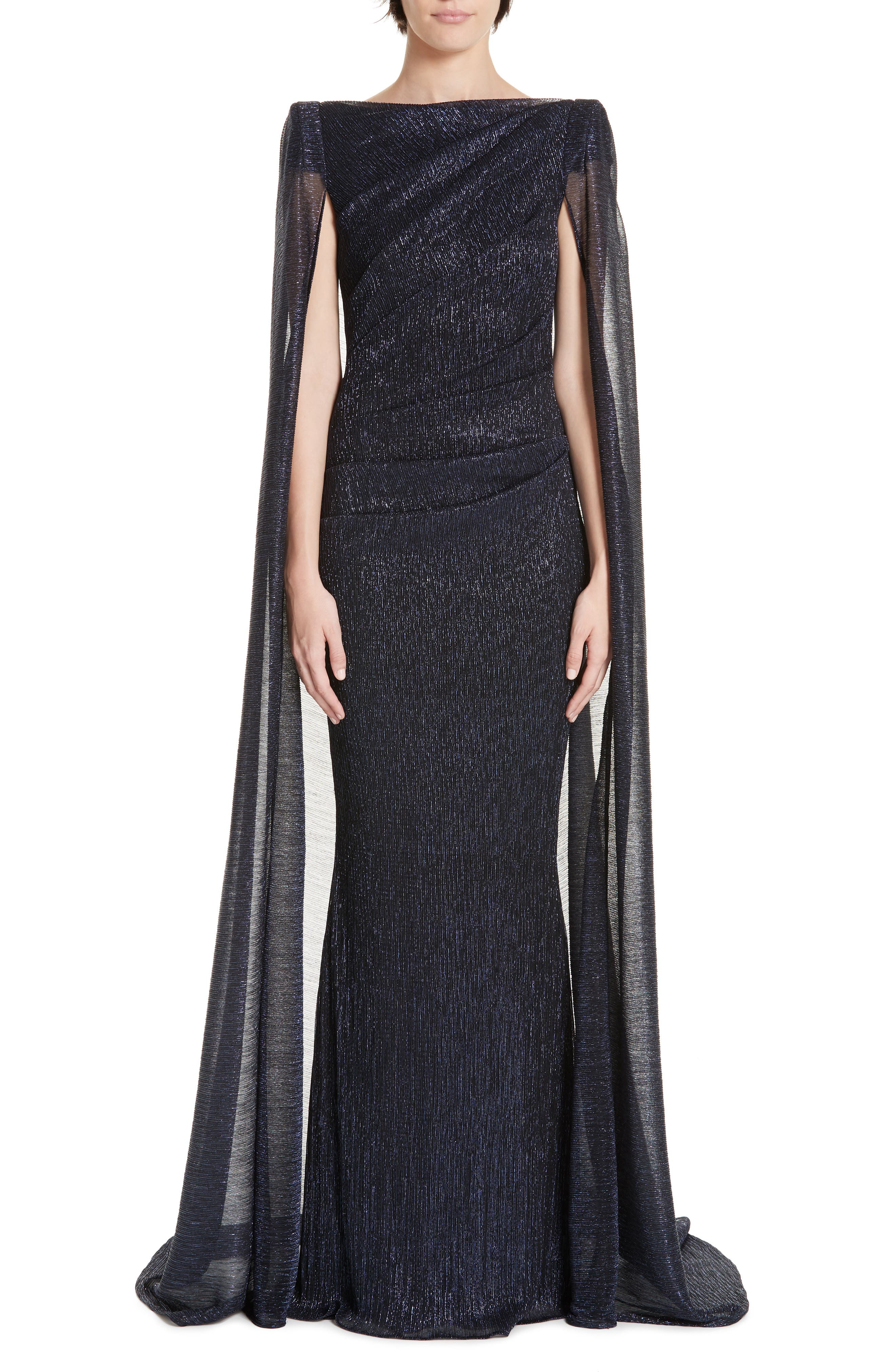 Talbot Runhof Off The Shoulder Sequined Dress With Cape