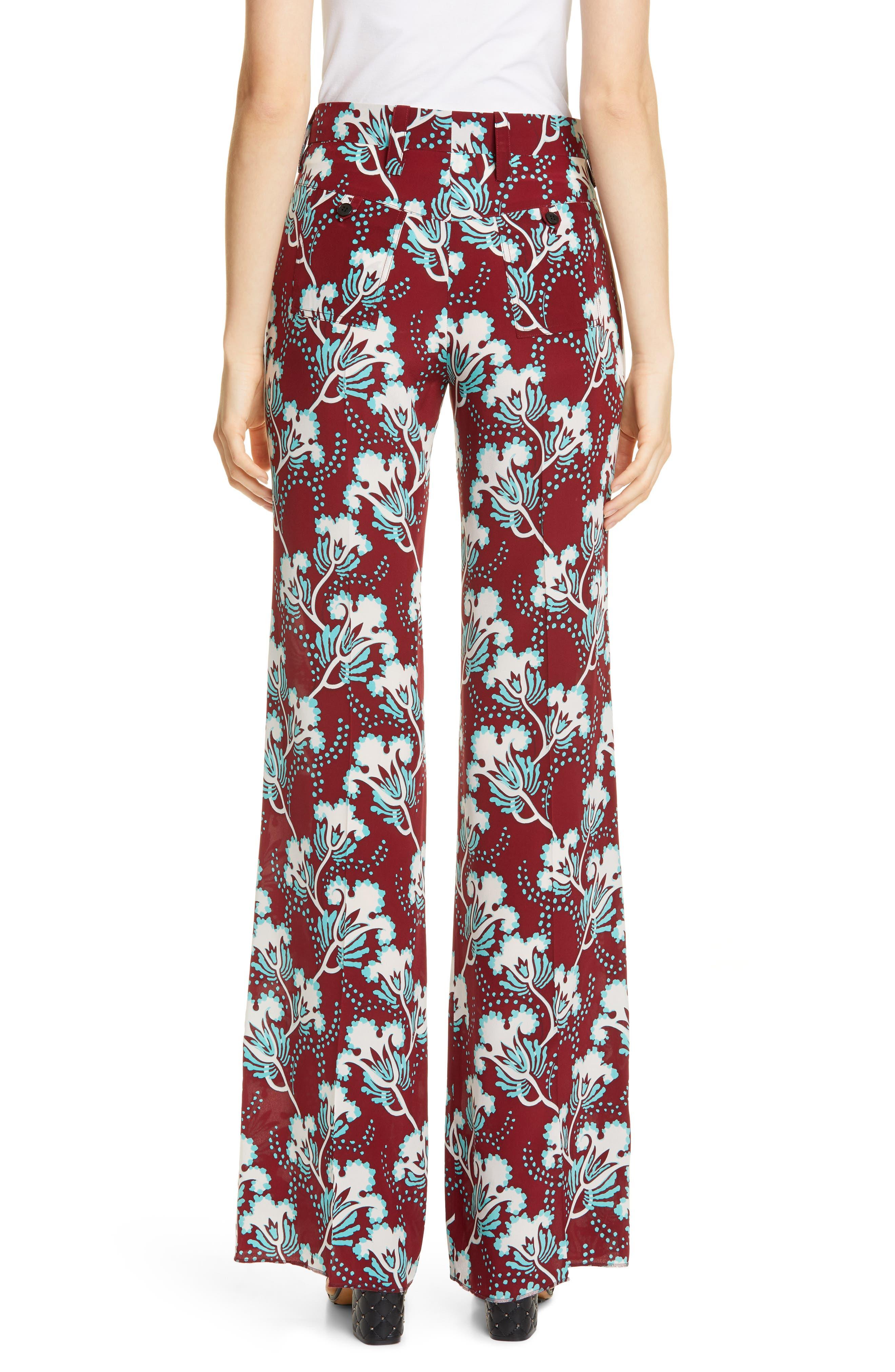 VALENTINO, Elderflower Print Wide Leg Silk Pants, Alternate thumbnail 2, color, GTB-GARNET/TURCHESE/BIANCO