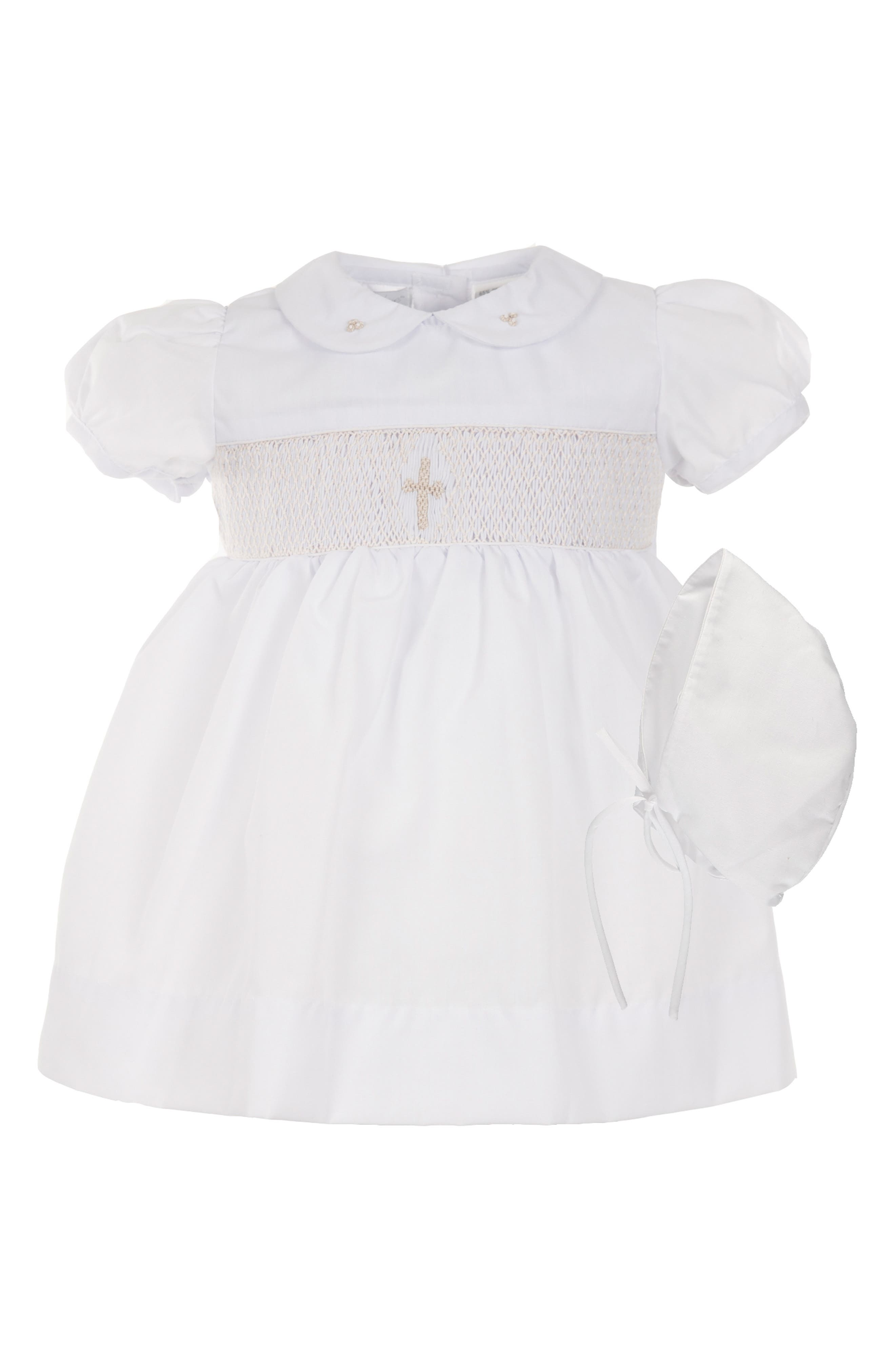 CARRIAGE BOUTIQUE Smocked Inset Christening Gown & Bonnet Set, Main, color, 100