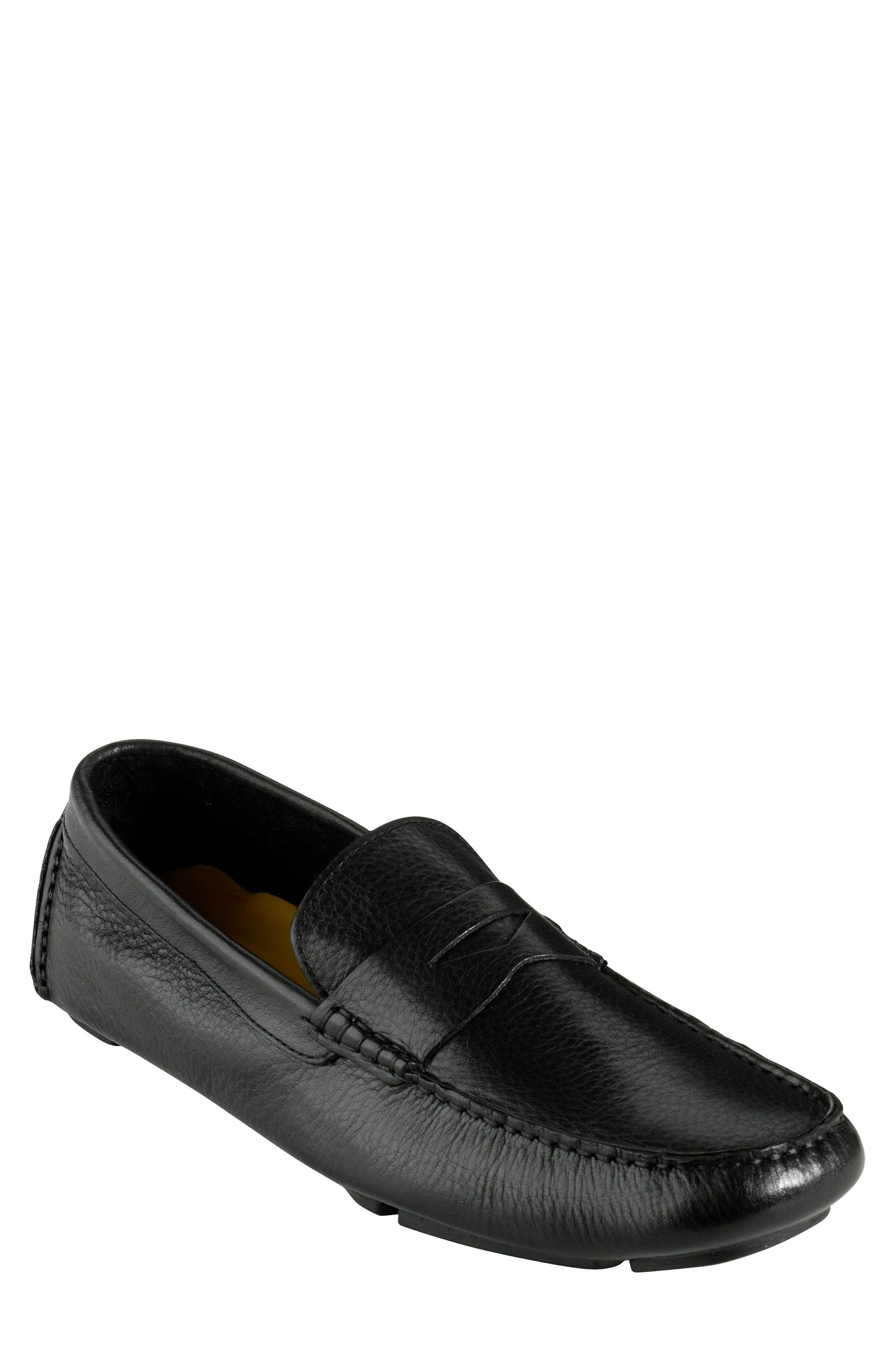 COLE HAAN, 'Howland' Penny Loafer, Main thumbnail 1, color, BLACK TUMBLED