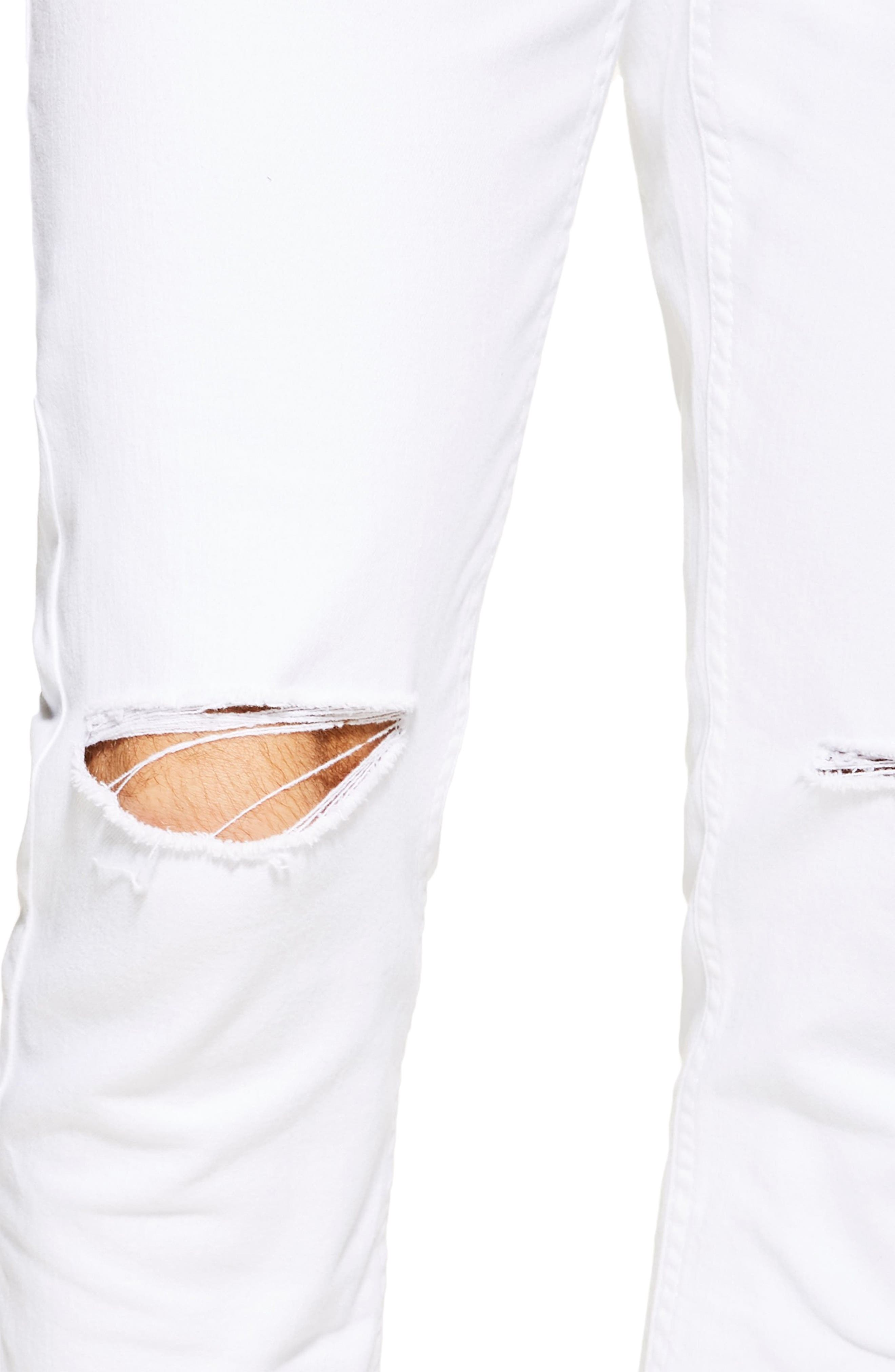TOPMAN, Ripped Stretch Skinny Fit Jeans, Alternate thumbnail 3, color, WHITE