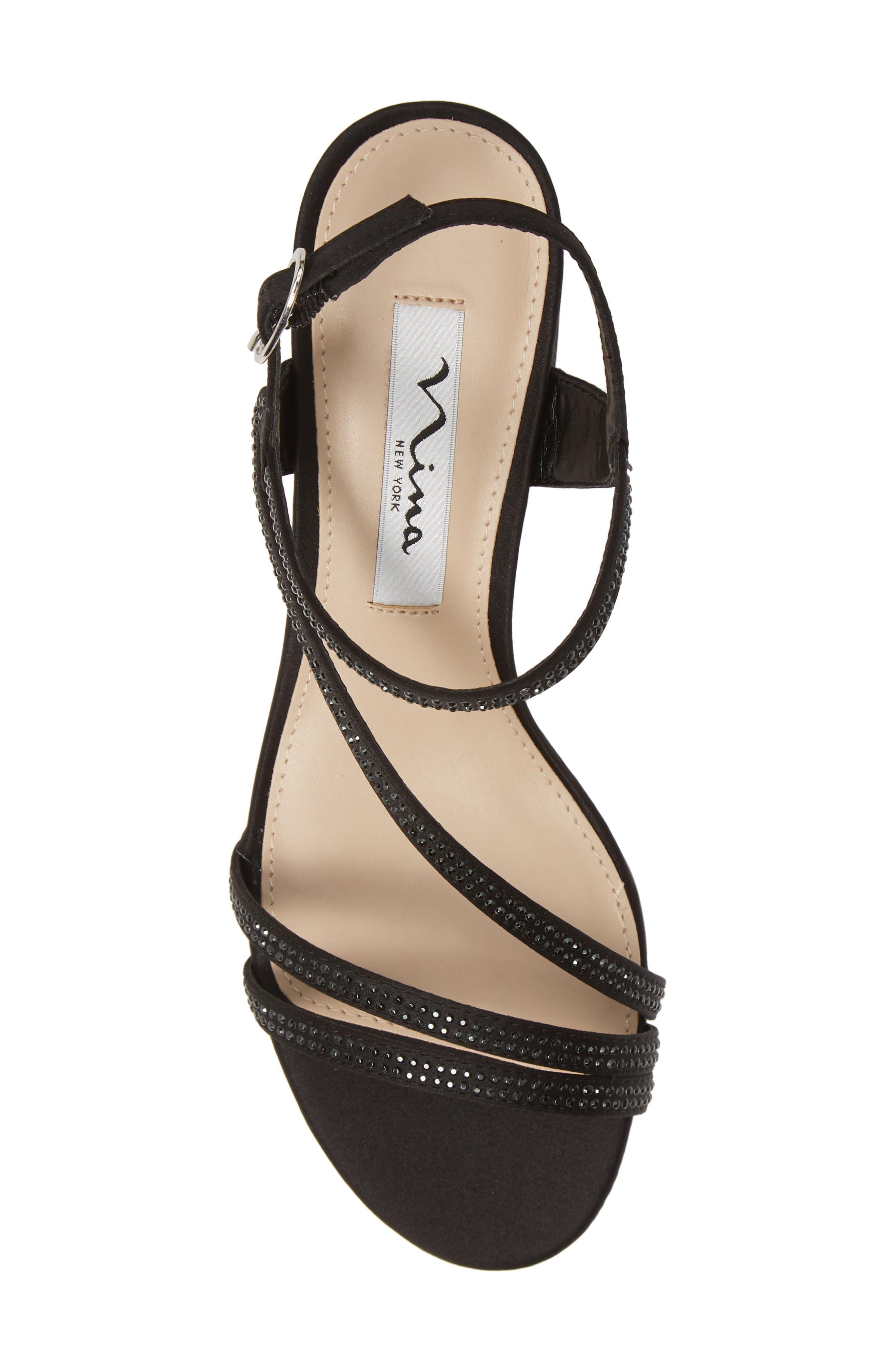 NINA, Naura Block Heel Sandal, Alternate thumbnail 5, color, BLACK SATIN