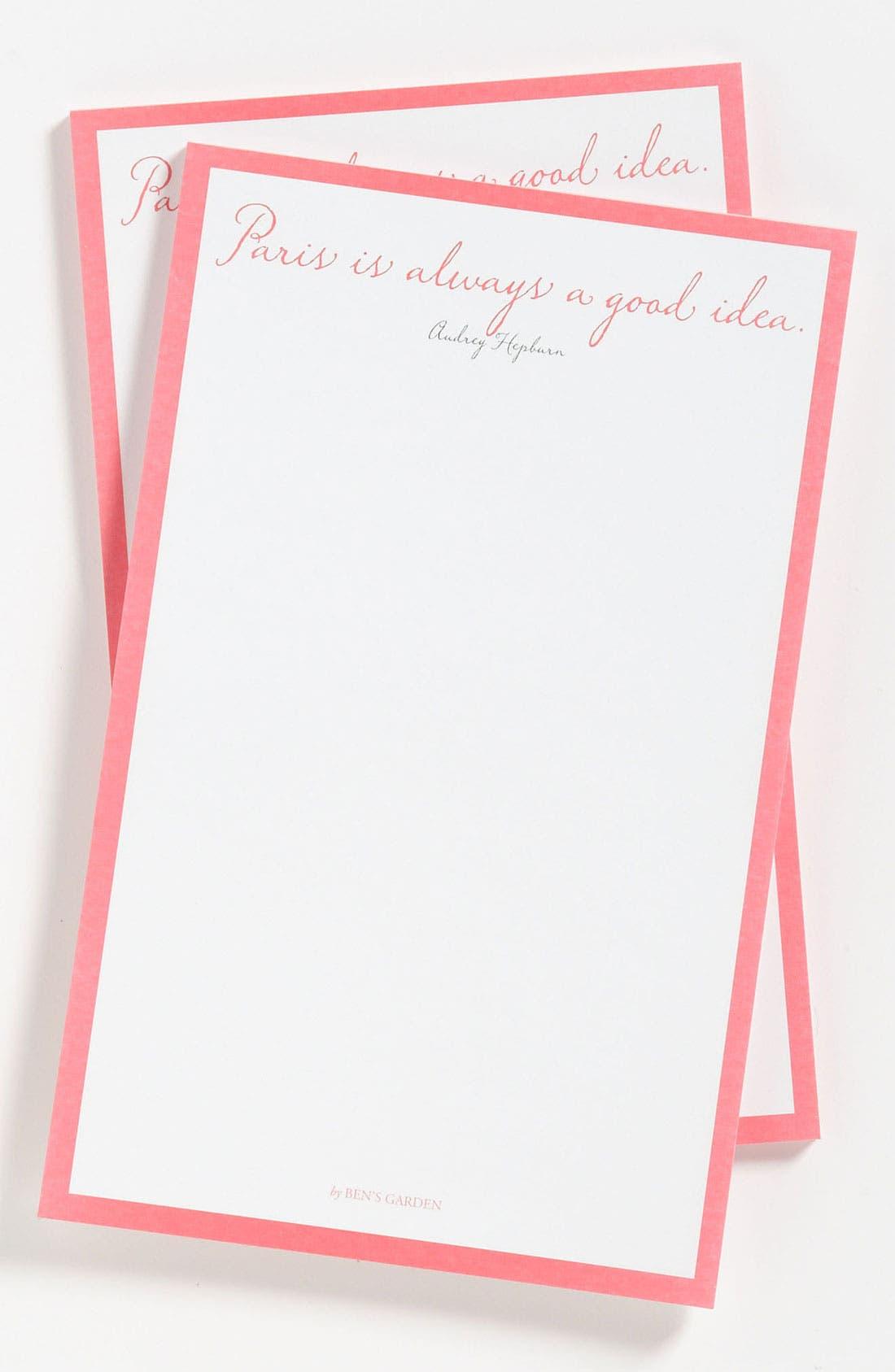 BEN'S GARDEN, 'Paris Is Always' Notepads, Main thumbnail 1, color, 650