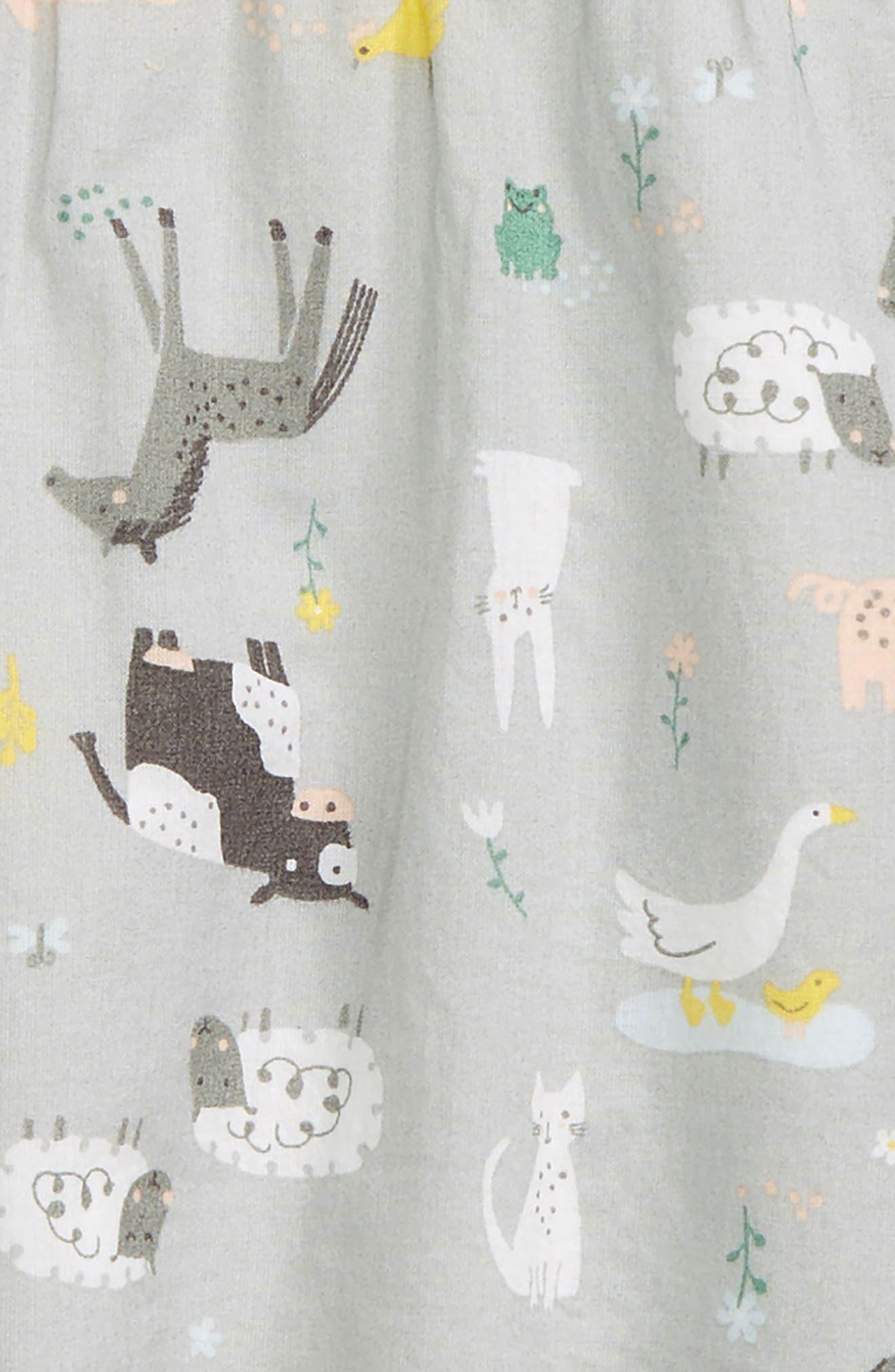 NORDSTROM BABY, Flutter Sleeve Dress & Leggings Set, Alternate thumbnail 2, color, GREY MICRO FARM- PINK STRIPE