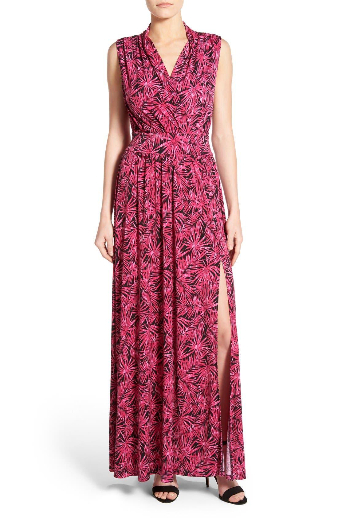 MICHAEL MICHAEL KORS Print Jersey Side Slit Maxi Dress, Main, color, 660