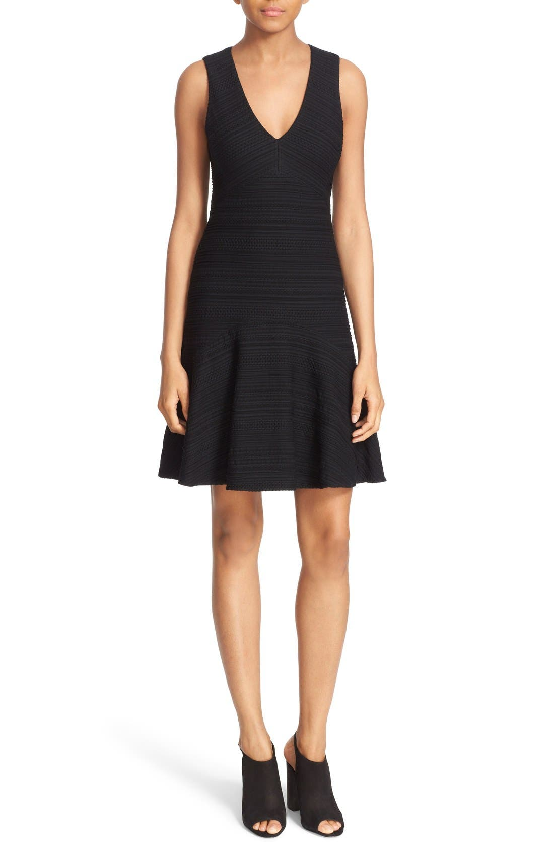 REBECCA TAYLOR, Sleeveless V-Neck Texture Knit Fit & Flare Dress, Main thumbnail 1, color, 001