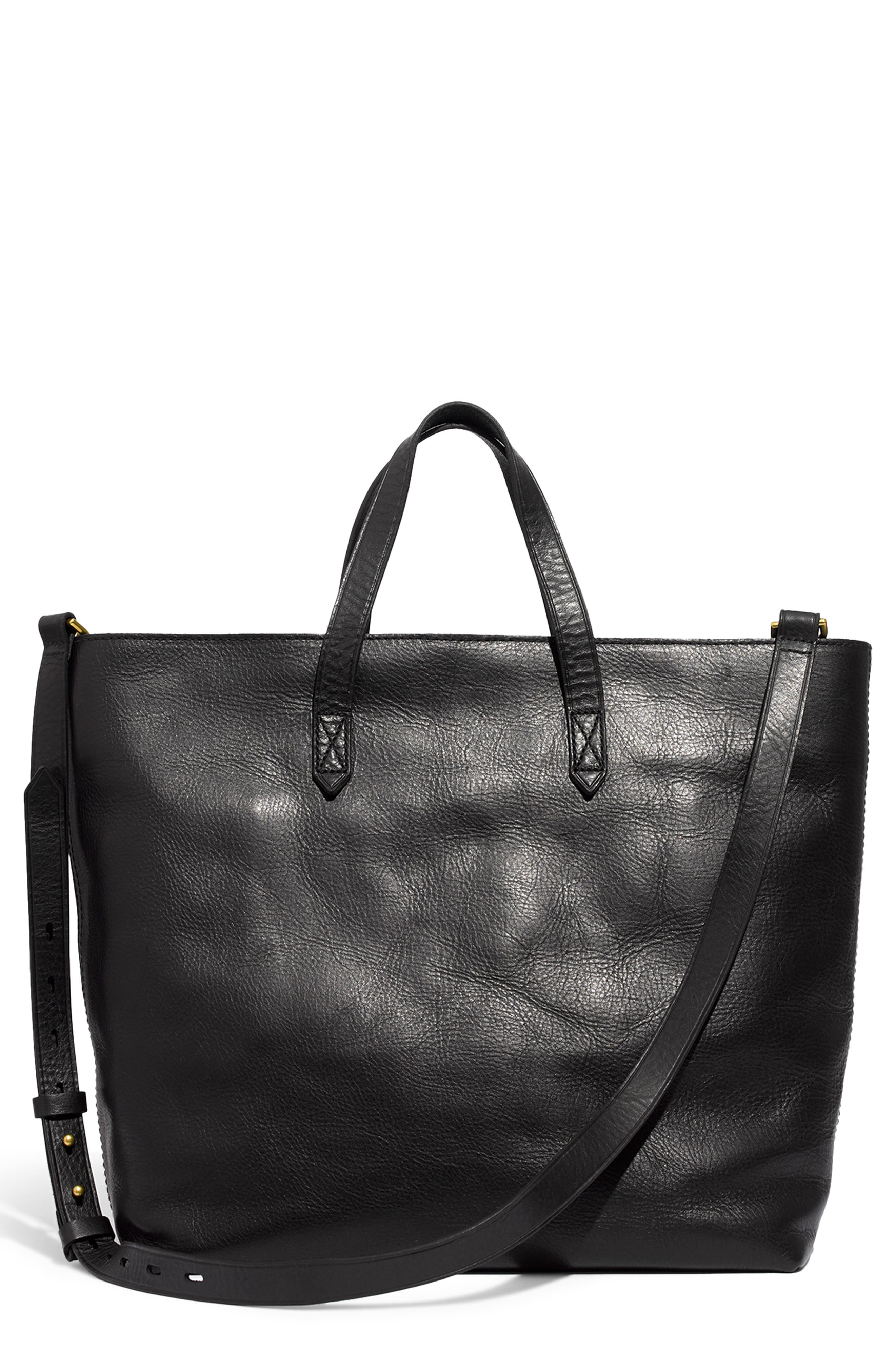 MADEWELL, Zip Top Transport Leather Carryall, Main thumbnail 1, color, TRUE BLACK