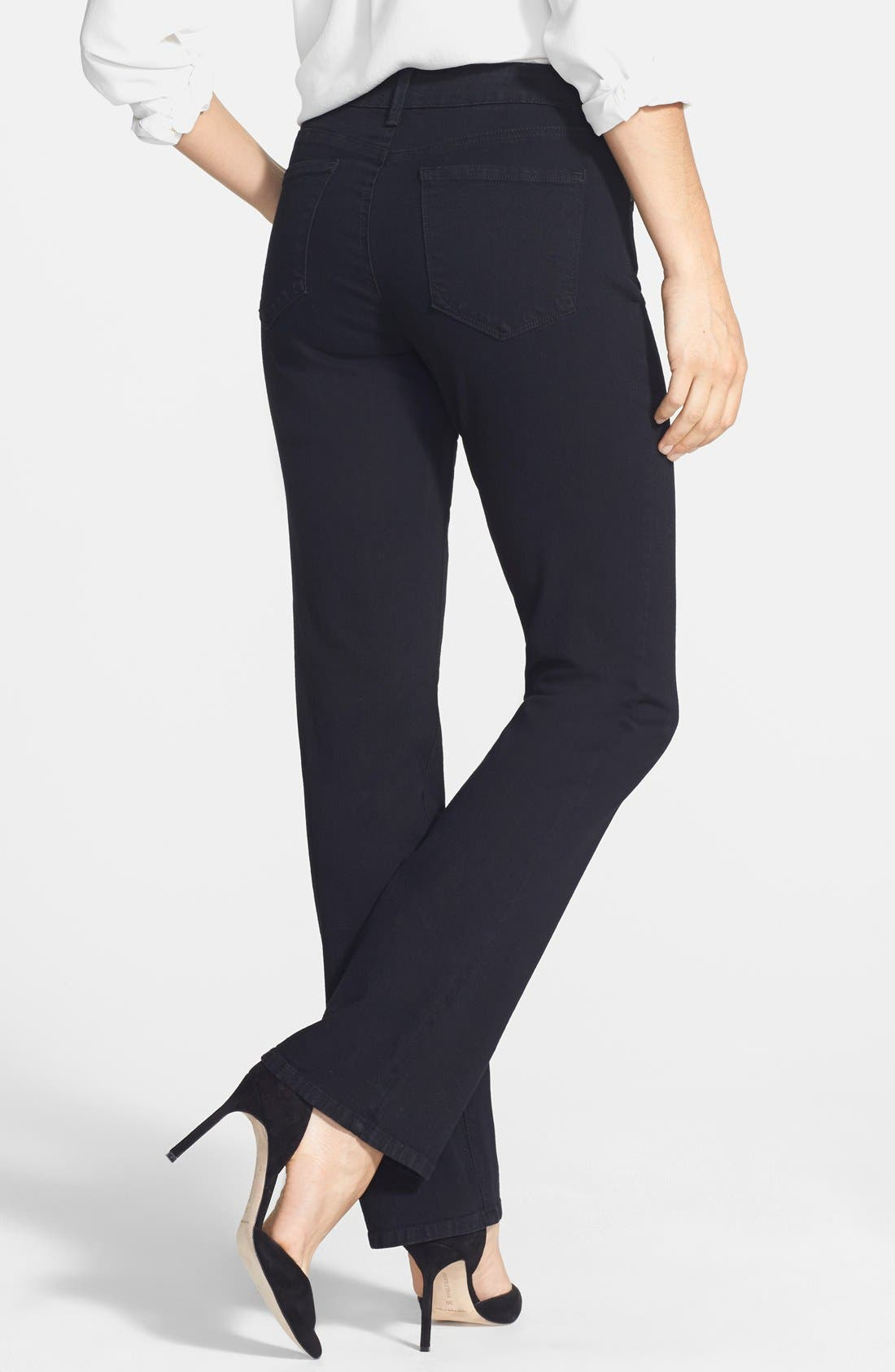 NYDJ, 'Billie' Stretch Mini Bootcut Jeans, Alternate thumbnail 2, color, BLACK