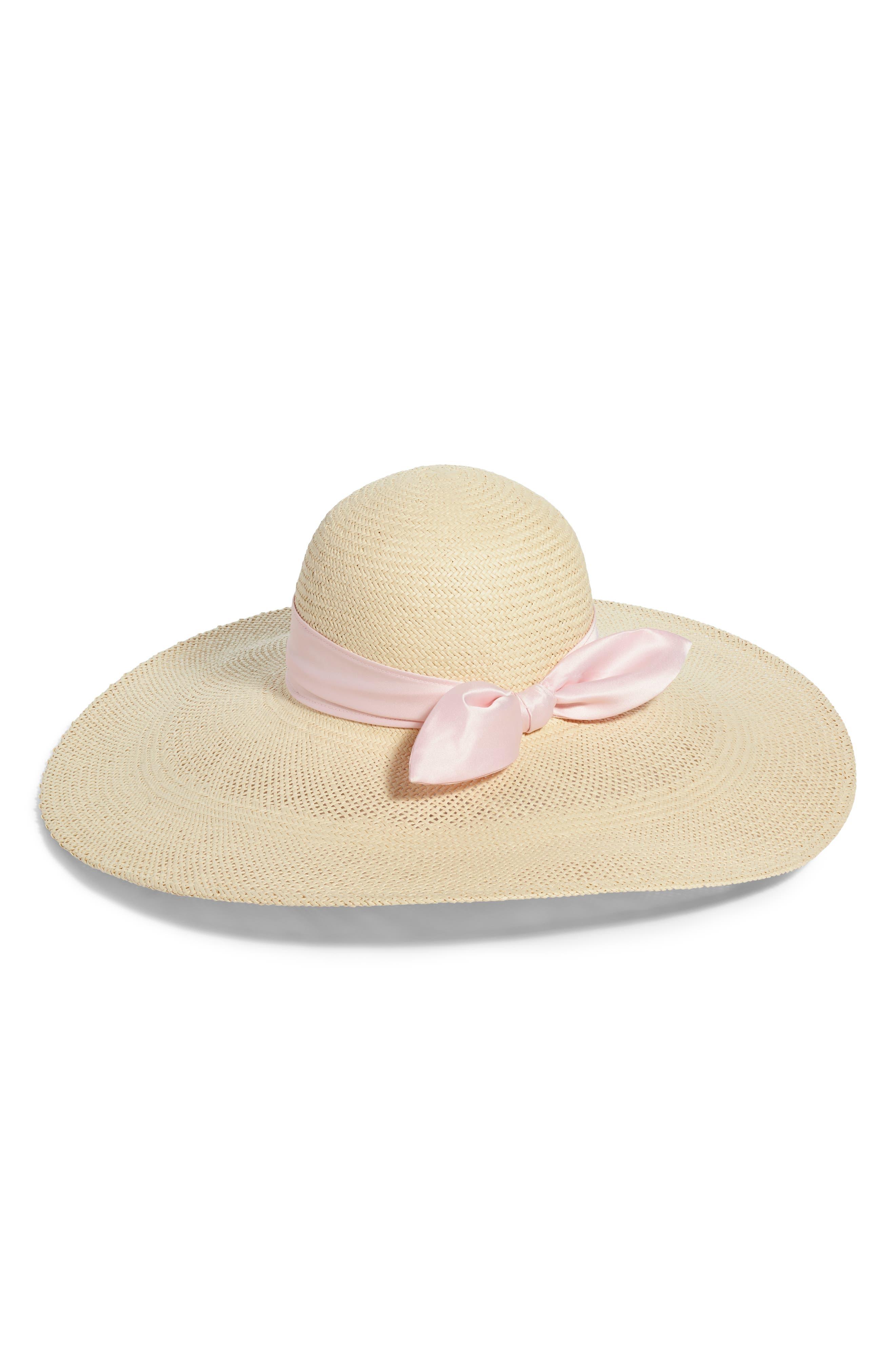 RACHEL PARCELL, Large Brim Straw Hat, Main thumbnail 1, color, BEIGE LIGHT COMBO