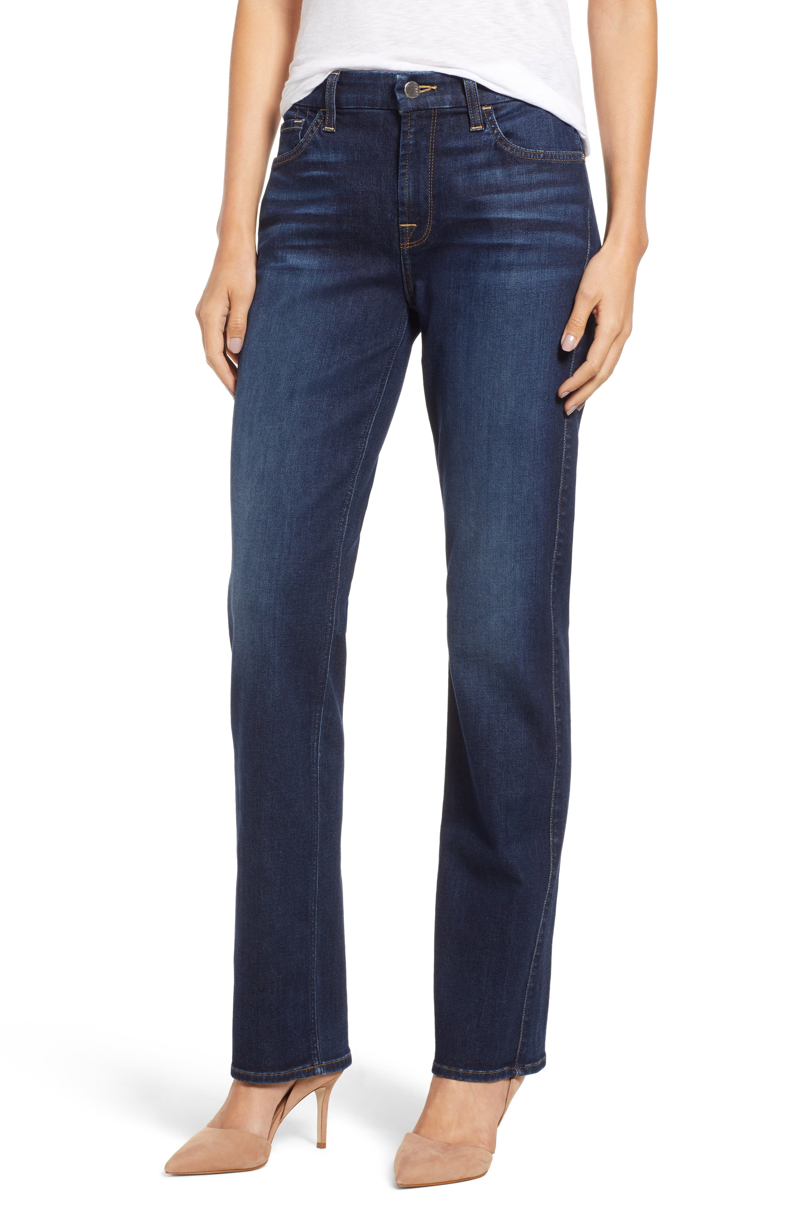JEN7 BY 7 FOR ALL MANKIND, Stretch Slim Straight Leg Jeans, Main thumbnail 1, color, 400