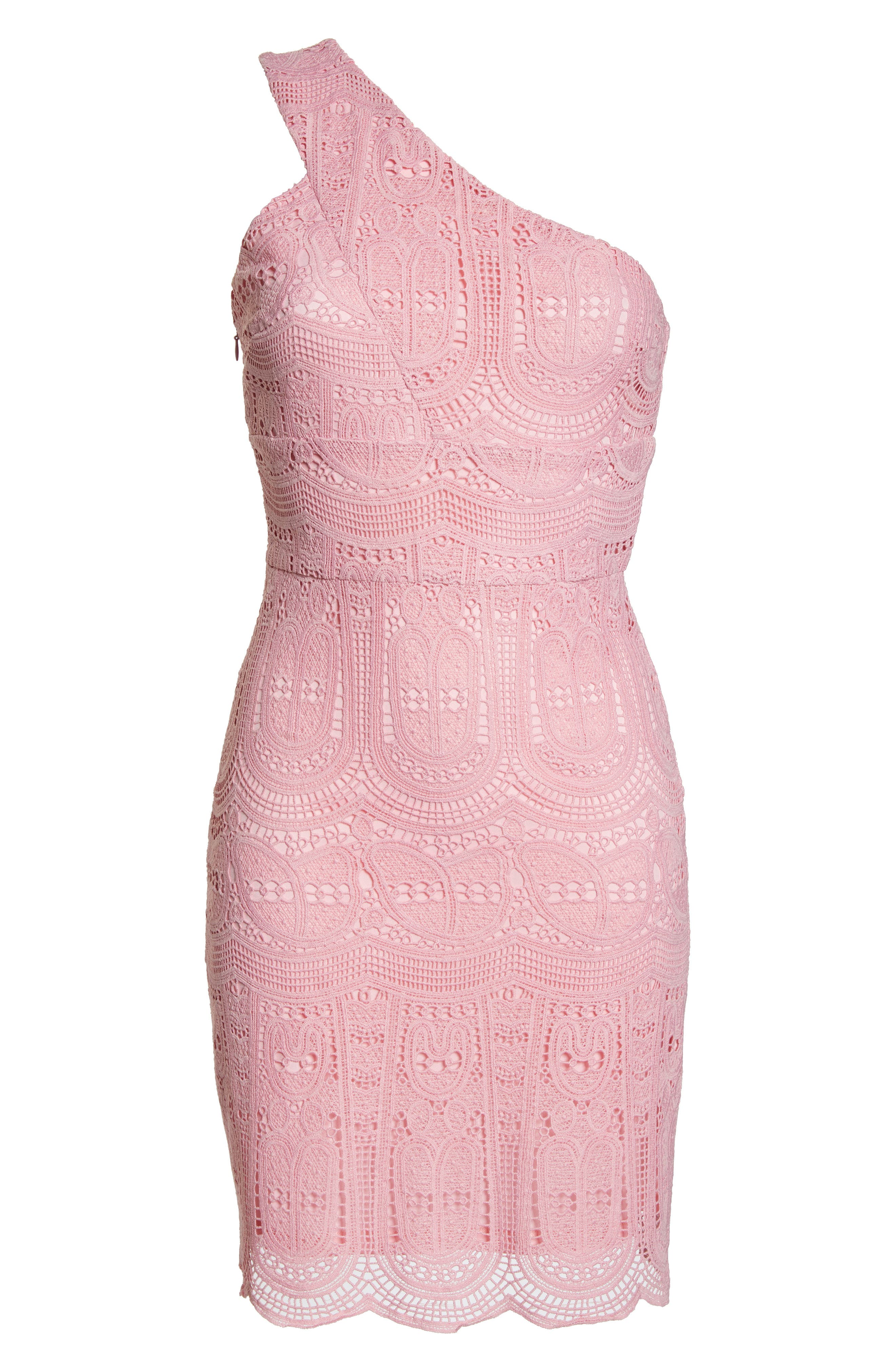 NSR, Grace One-Shoulder Lace Sheath Dress, Alternate thumbnail 7, color, PINK