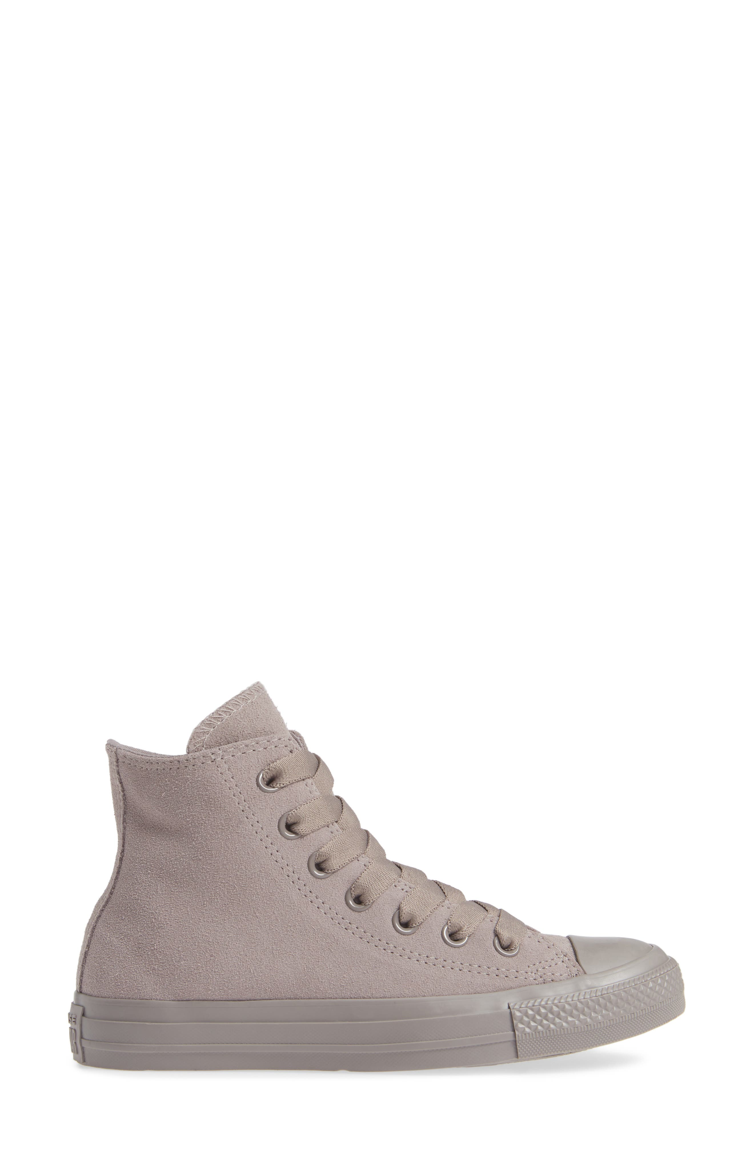 CONVERSE, Chuck Taylor<sup>®</sup> All Star<sup>®</sup> Hi Sneaker, Alternate thumbnail 3, color, MERCURY GREY SUEDE