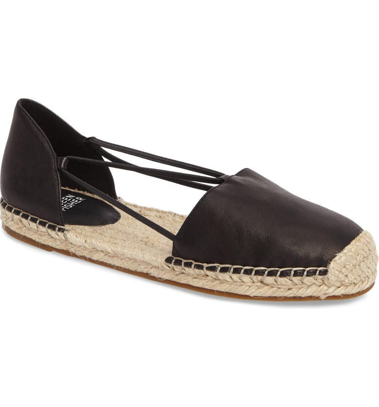 EILEEN FISHER Lee Espadrille Flat, Main, color, BLACK WASHED LEATHER