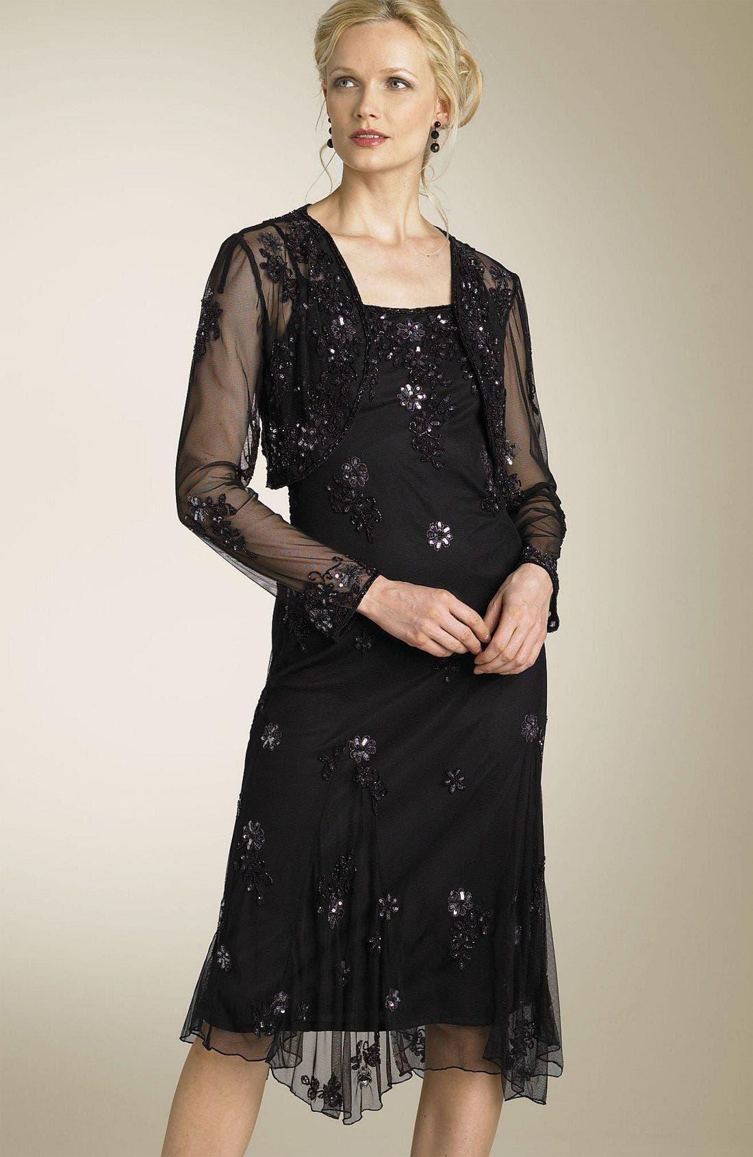 STENAY, Beaded Jacket Dress, Main thumbnail 1, color, BLK