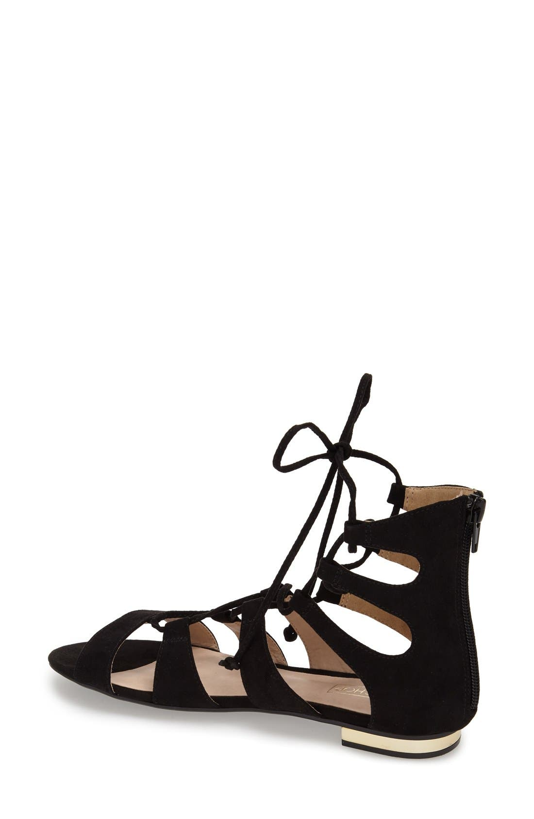 TOPSHOP, Lace-Up Gladiator Sandal, Alternate thumbnail 2, color, 001