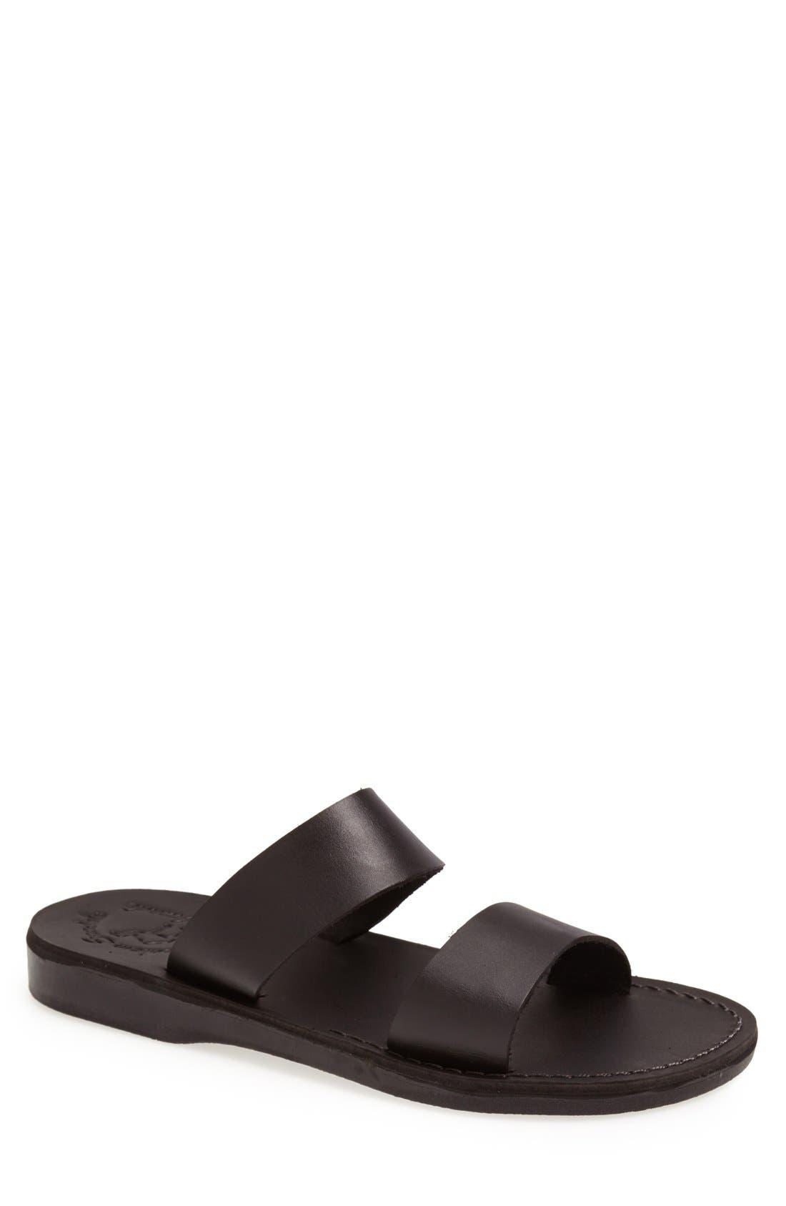 JERUSALEM SANDALS 'Aviv' Leather Sandal, Main, color, BLACK