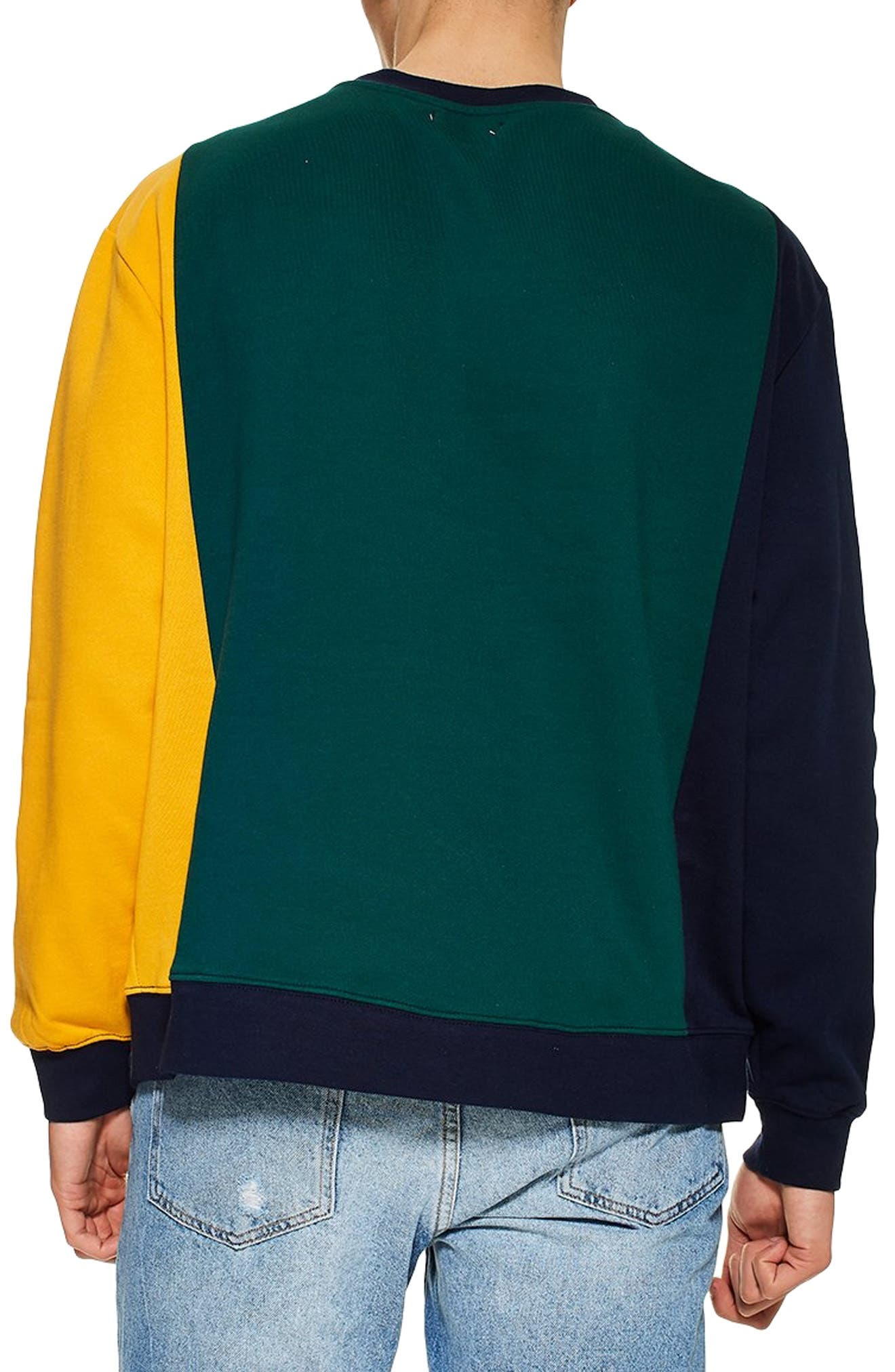 TOPMAN, Classic Fit Stamford Sweatshirt, Alternate thumbnail 2, color, GREEN MULTI
