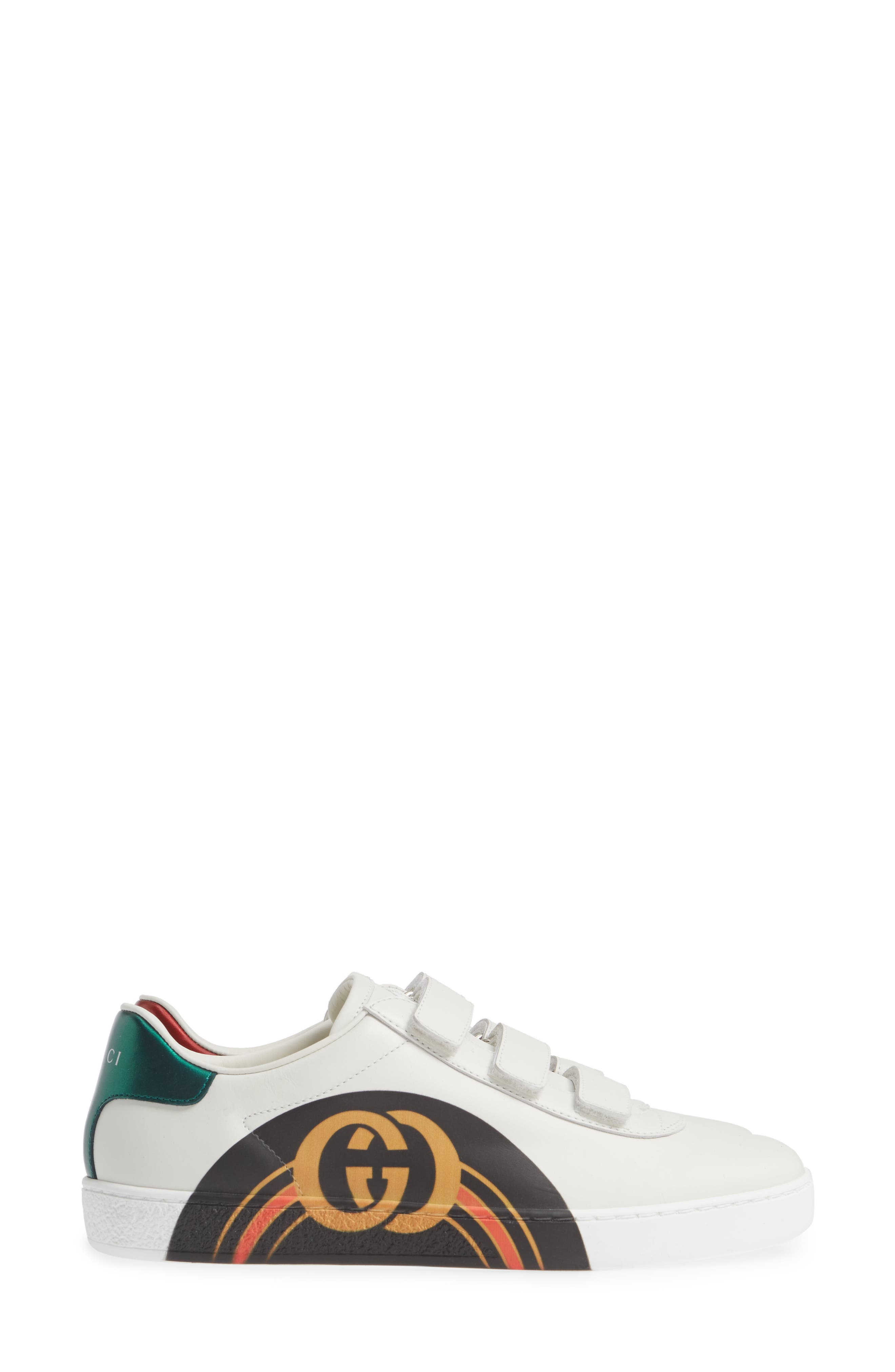 GUCCI, New Ace Sneaker, Alternate thumbnail 3, color, WHITE